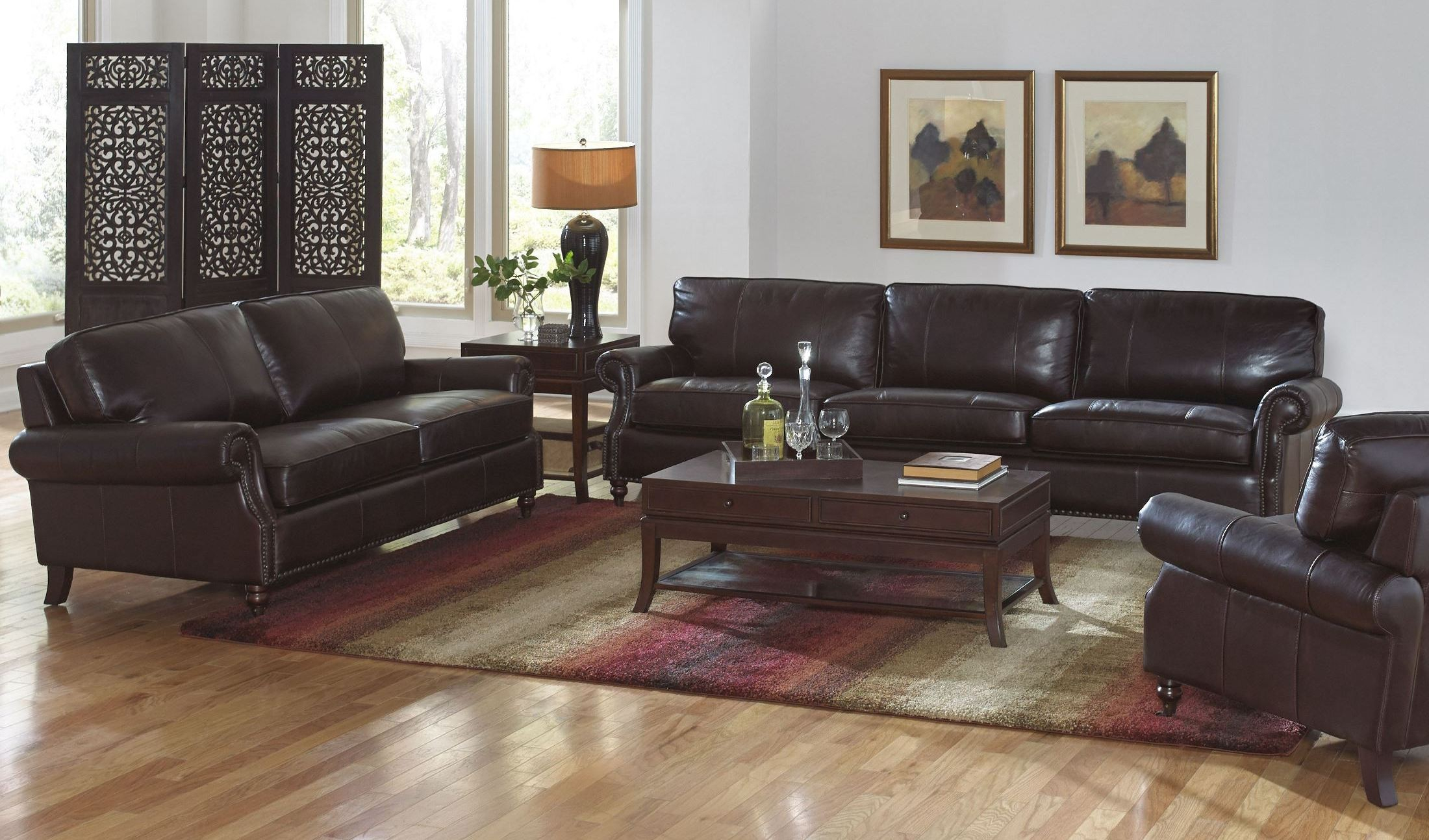 Stockton dark chocolate leather living room set from - Chocolate leather living room furniture ...