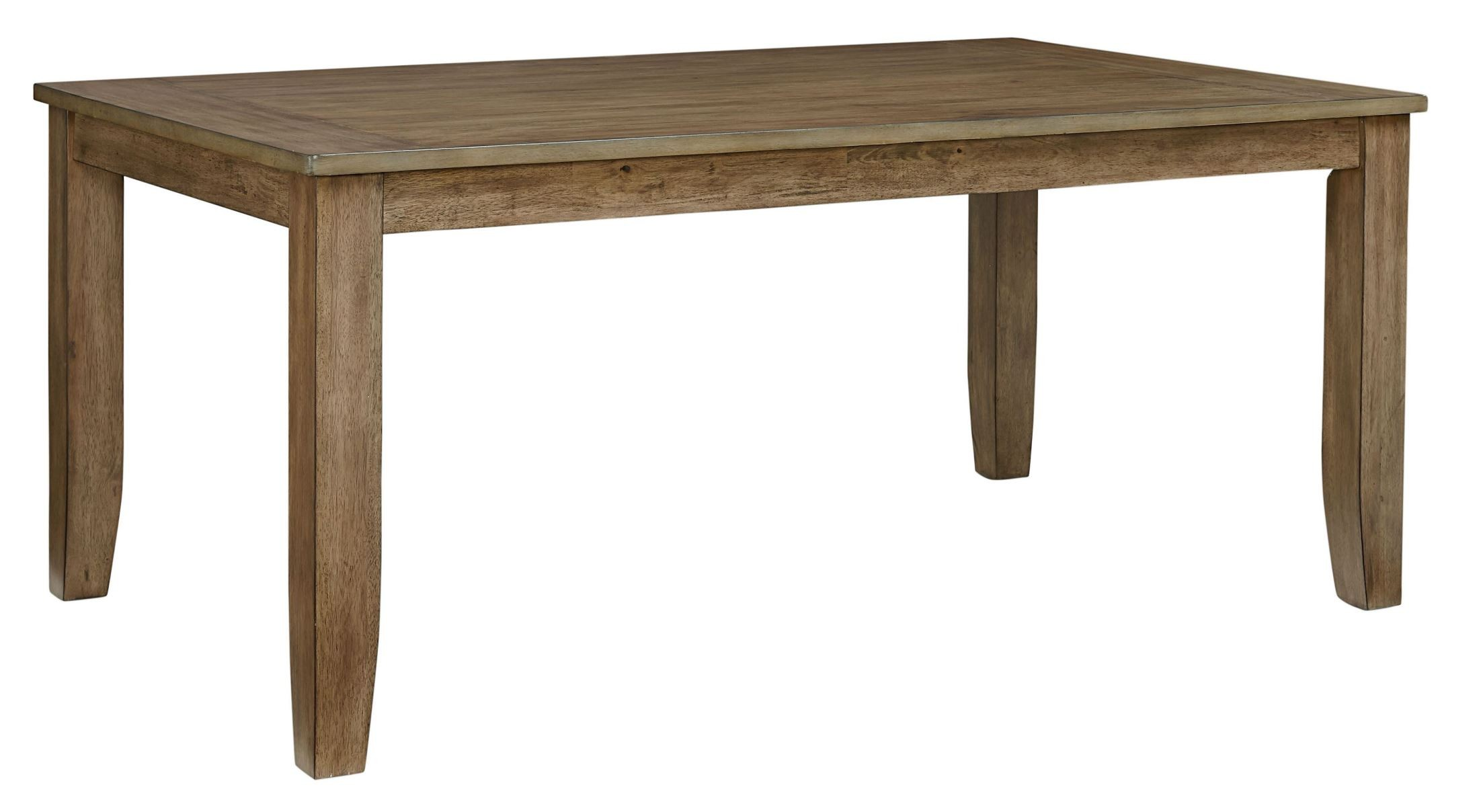 Vintage weathered grey rectangular leg dining table from for Standard dining table