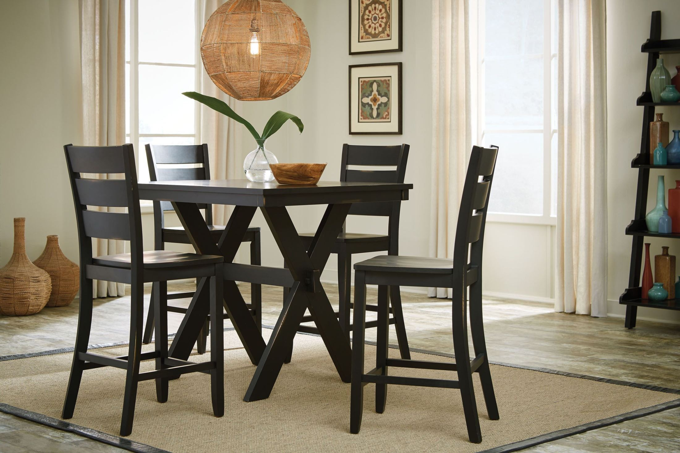 Costa Distressed Black 5 Piece Counter Height Dining Room