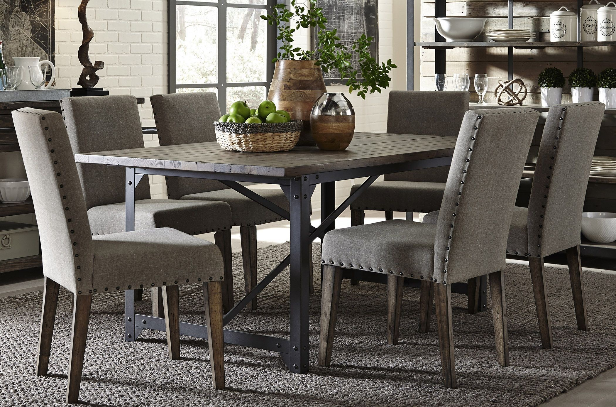 Caldwell dining brown trestle dining room set from liberty for Brown dining room set
