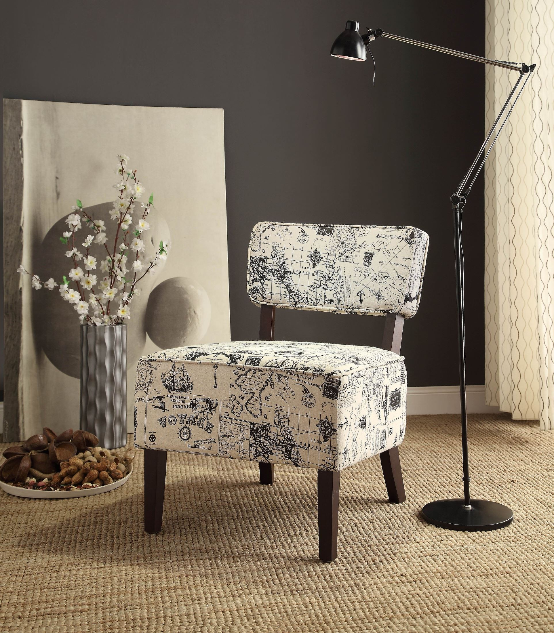 Orson White And Gray Accent Chair From Homelegance