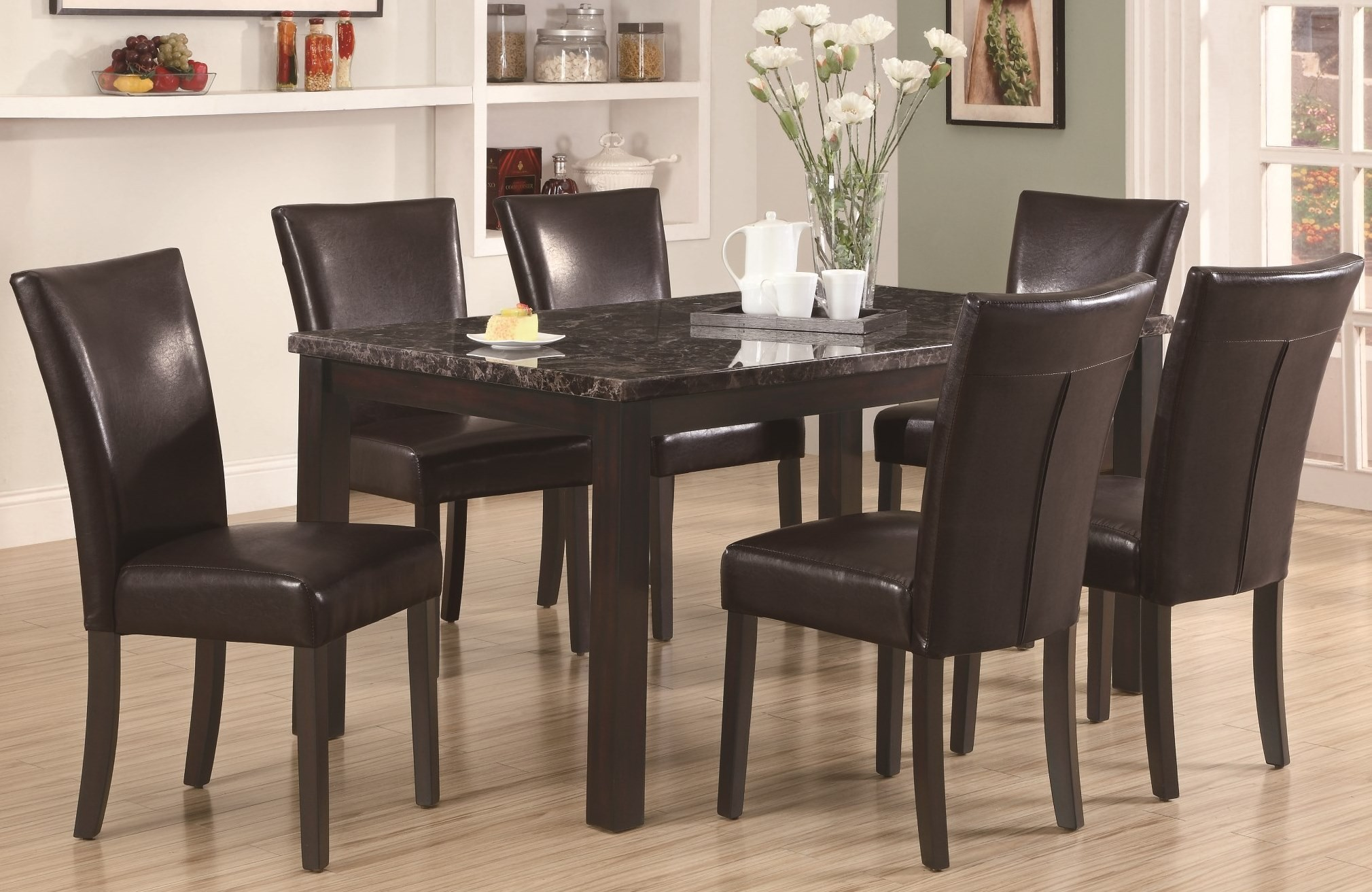 espresso dining room set 1738 dark espresso marble dining room set from monarch 1738 coleman furniture 3915