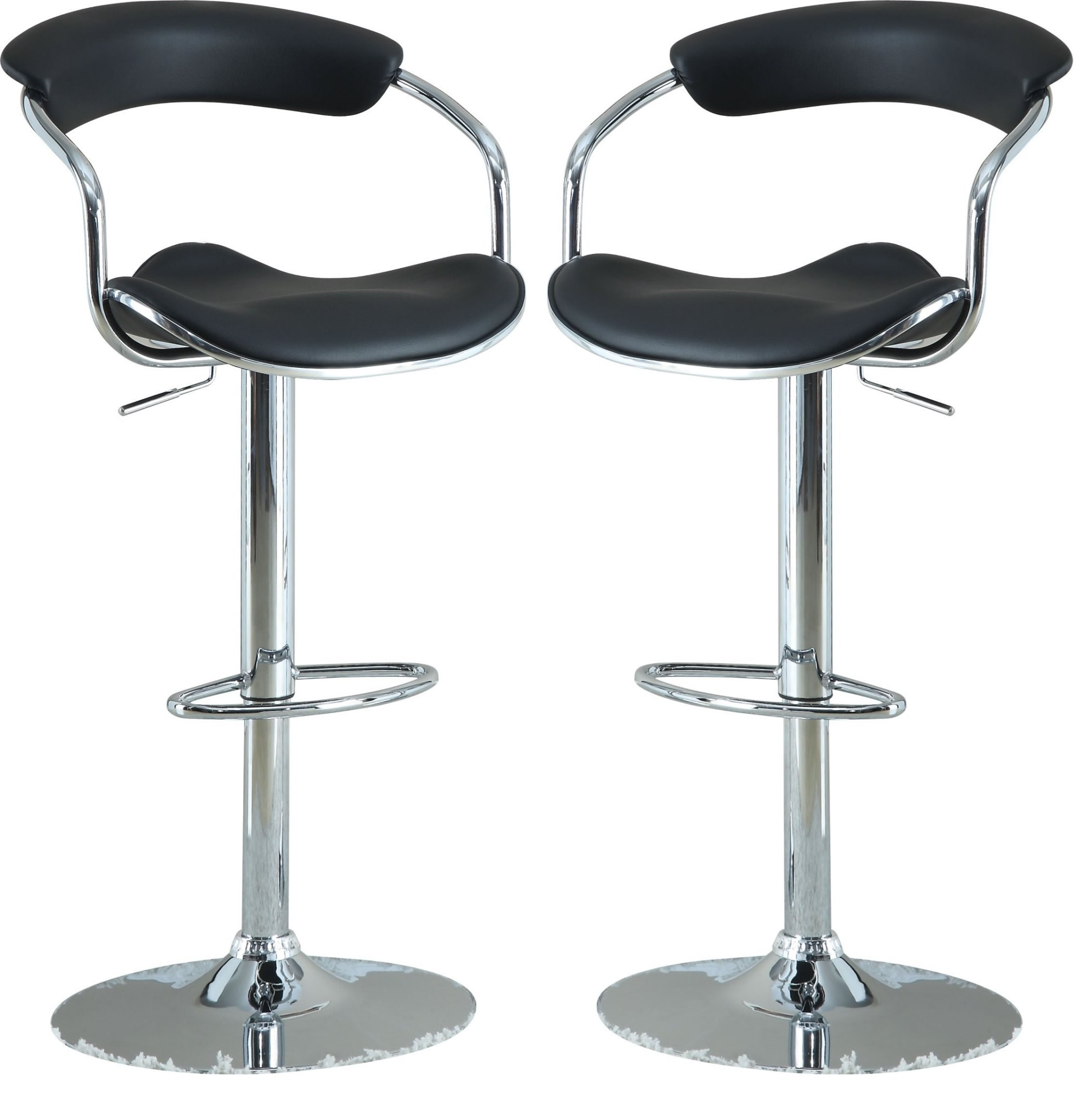 modern black adjustable bar stool set of 2 from coaster