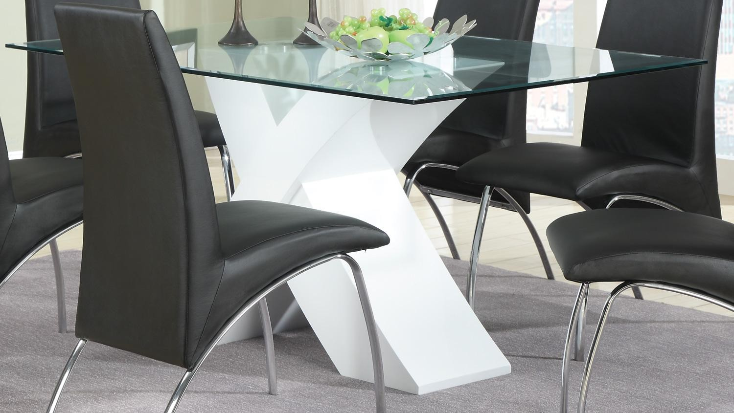 Ophelia white dining table from coaster 120821 coleman - Comedores de cristal ...
