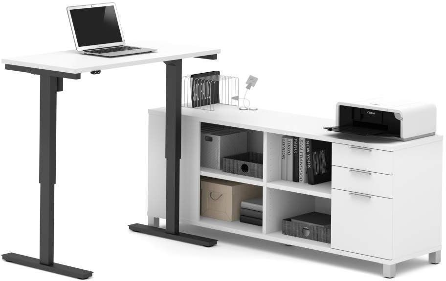 Pro Linea White L Desk With Electric Height Adjustable