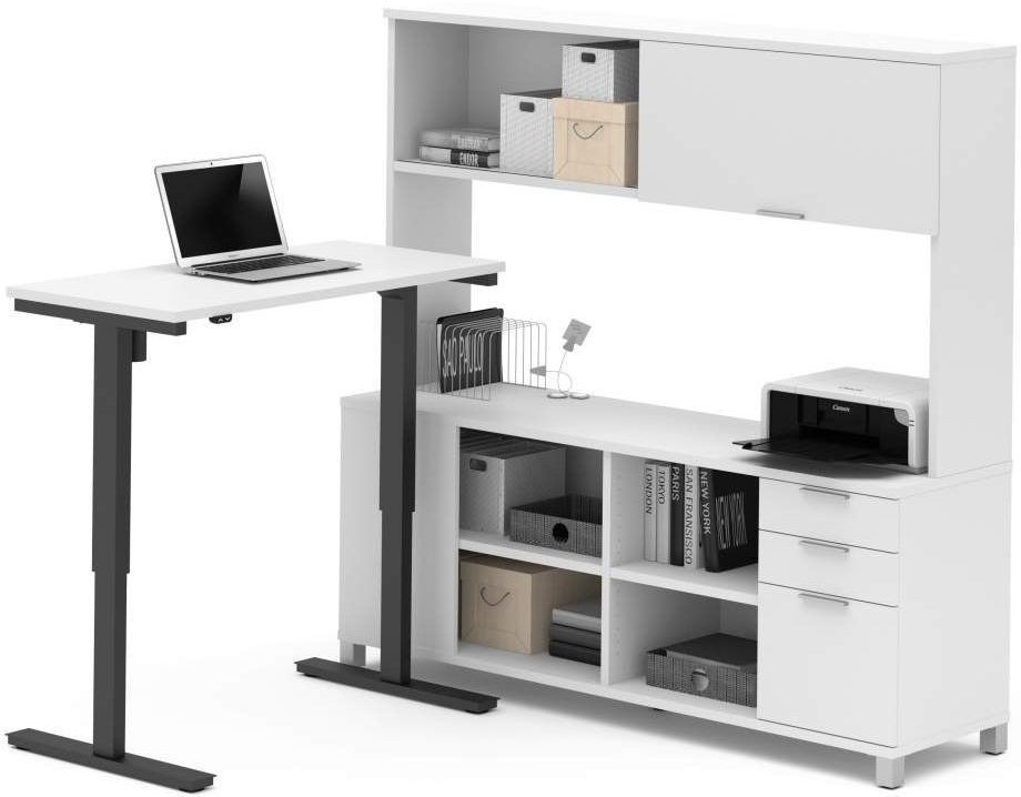 Pro Linea White L Desk With Hutch With Electric Height