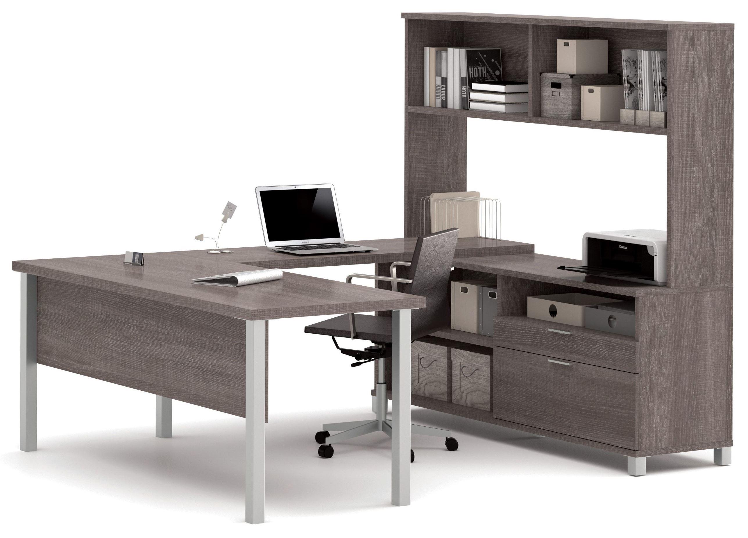 Pro Linea Bark Grey U Desk With Hutch From Bestar 120860