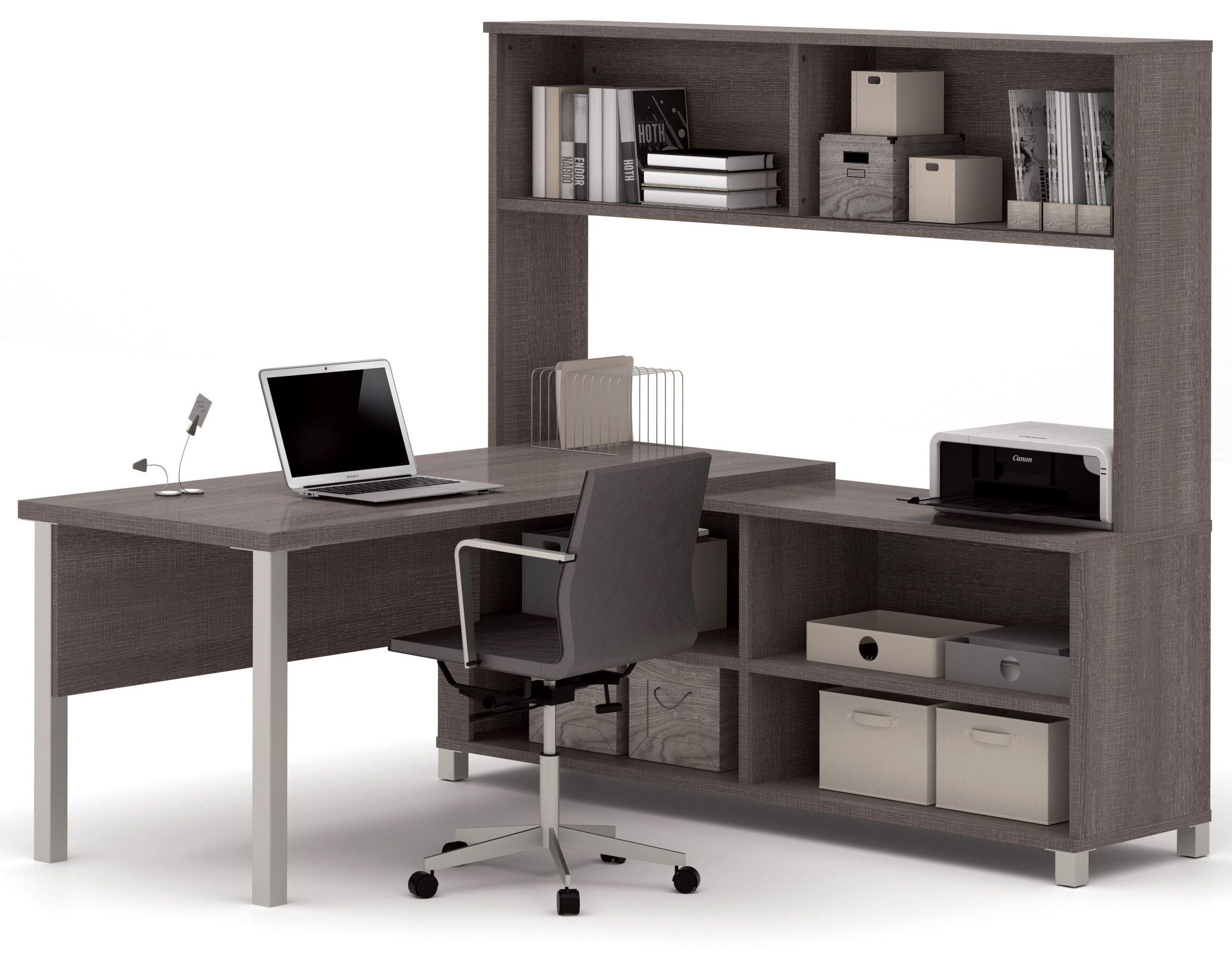 Pro Linea Bark Grey L Desk With Hutch From Bestar 120862