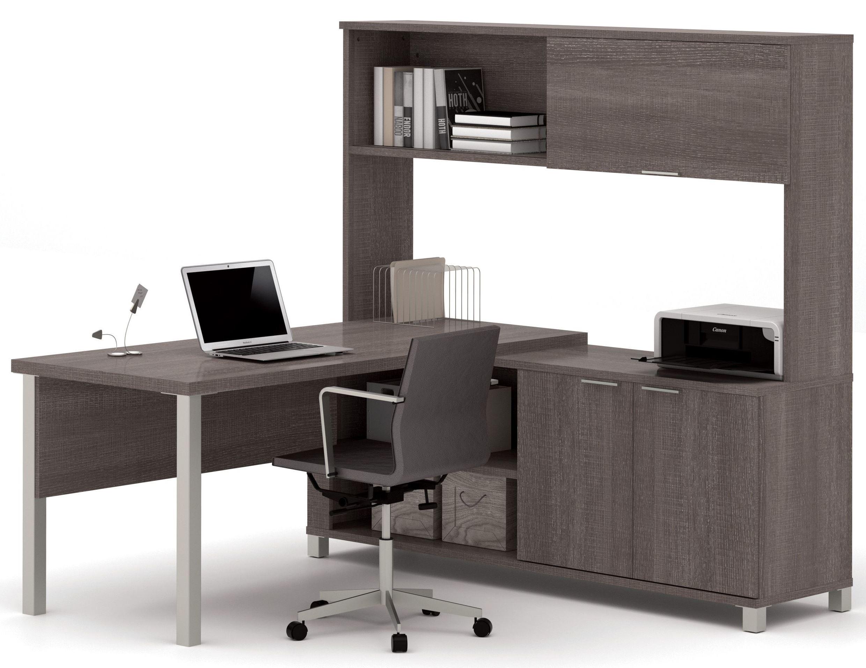Pro Linea Bark Grey Door L Desk With Hutch From Bestar