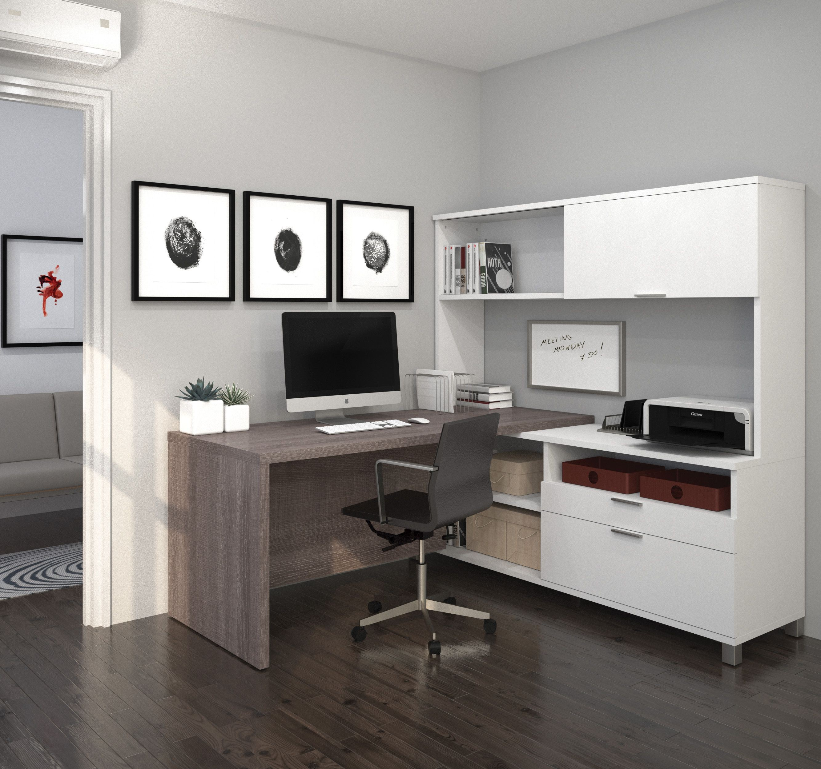 Pro Linea White Amp Bark Grey Drawer L Desk With Hutch From
