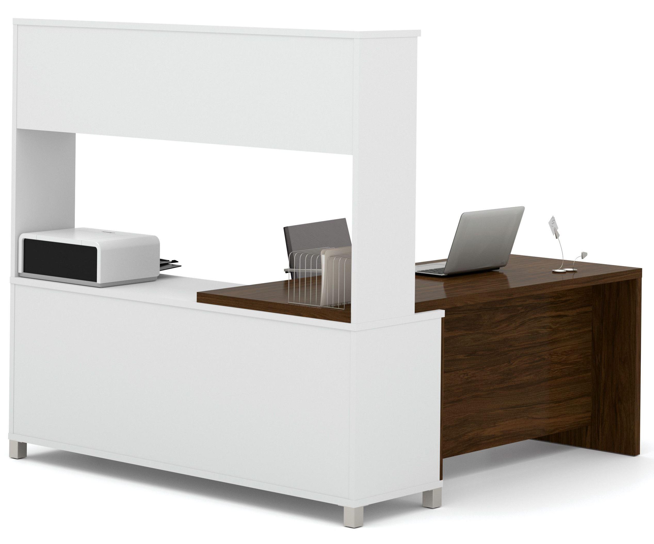Pro Linea White Amp Oak Barrel Door L Desk With Hutch From