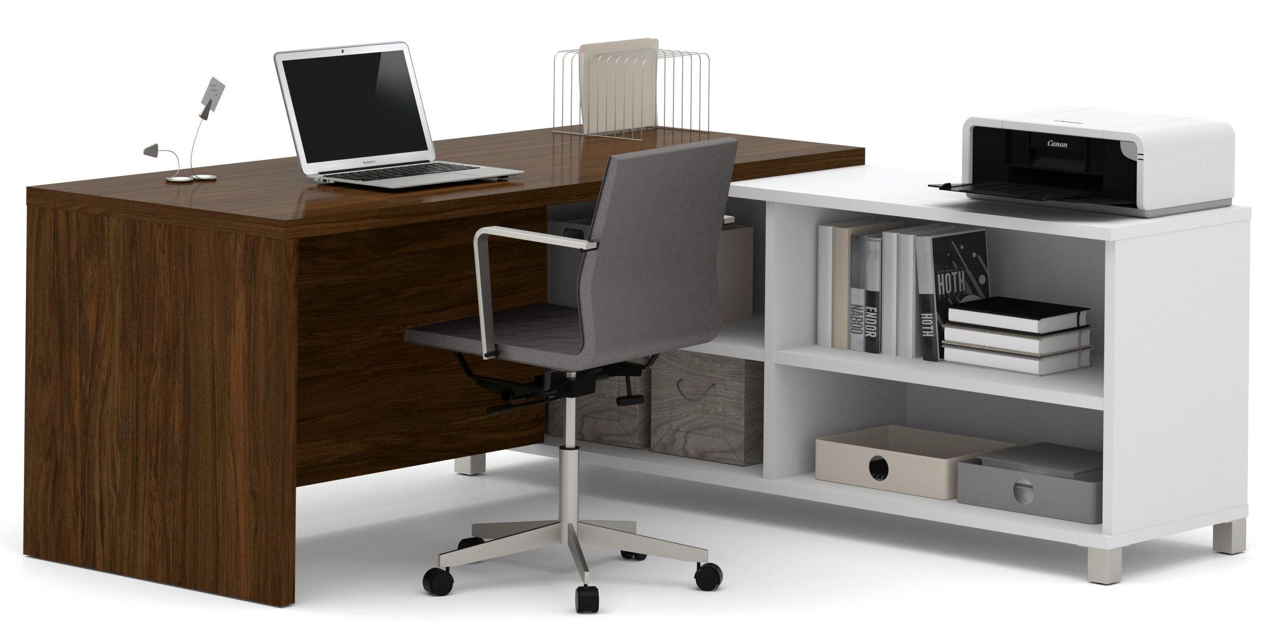 Pro Linea White Amp Oak Barrel Door L Desk From Bestar