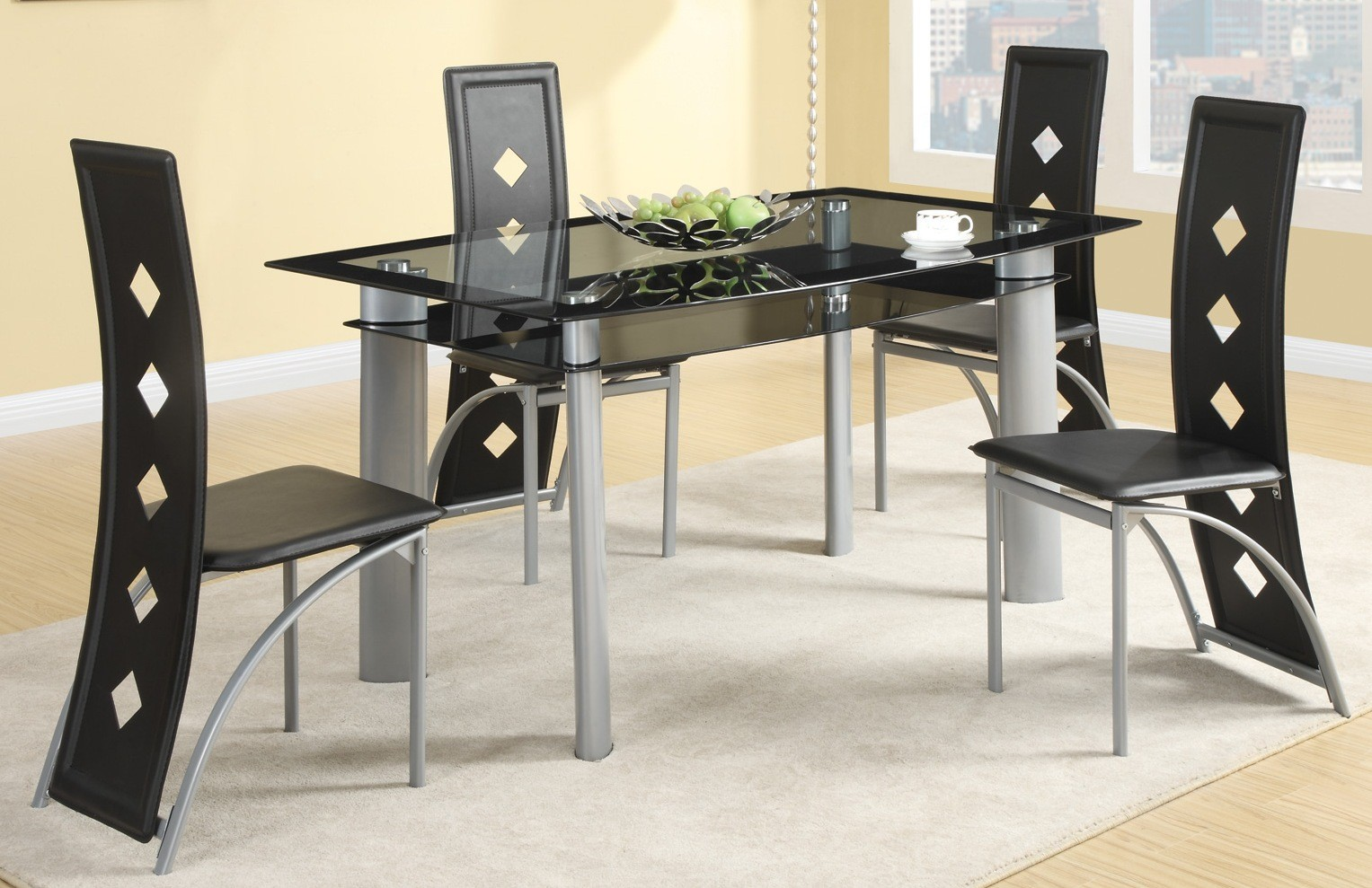 metal dining room sets | Fontana Silver Metal Dining Room Set from Coaster (121051 ...