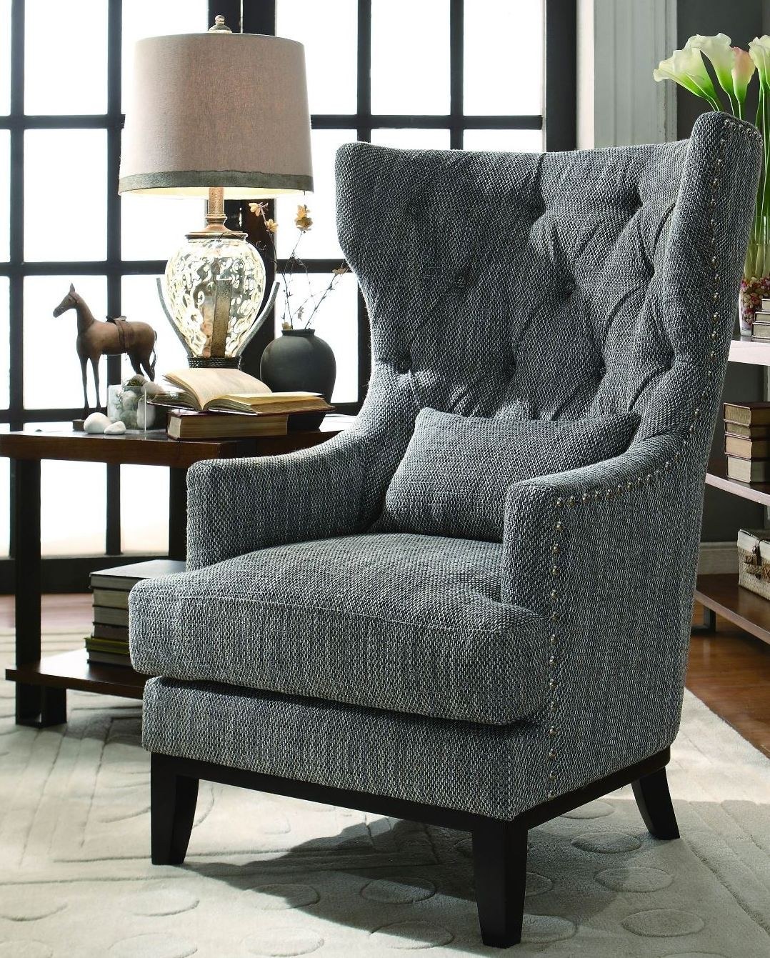 Dark Grey Accent Chairs: Adriano Dark Grey Fabric Accent Chair From Homelegance