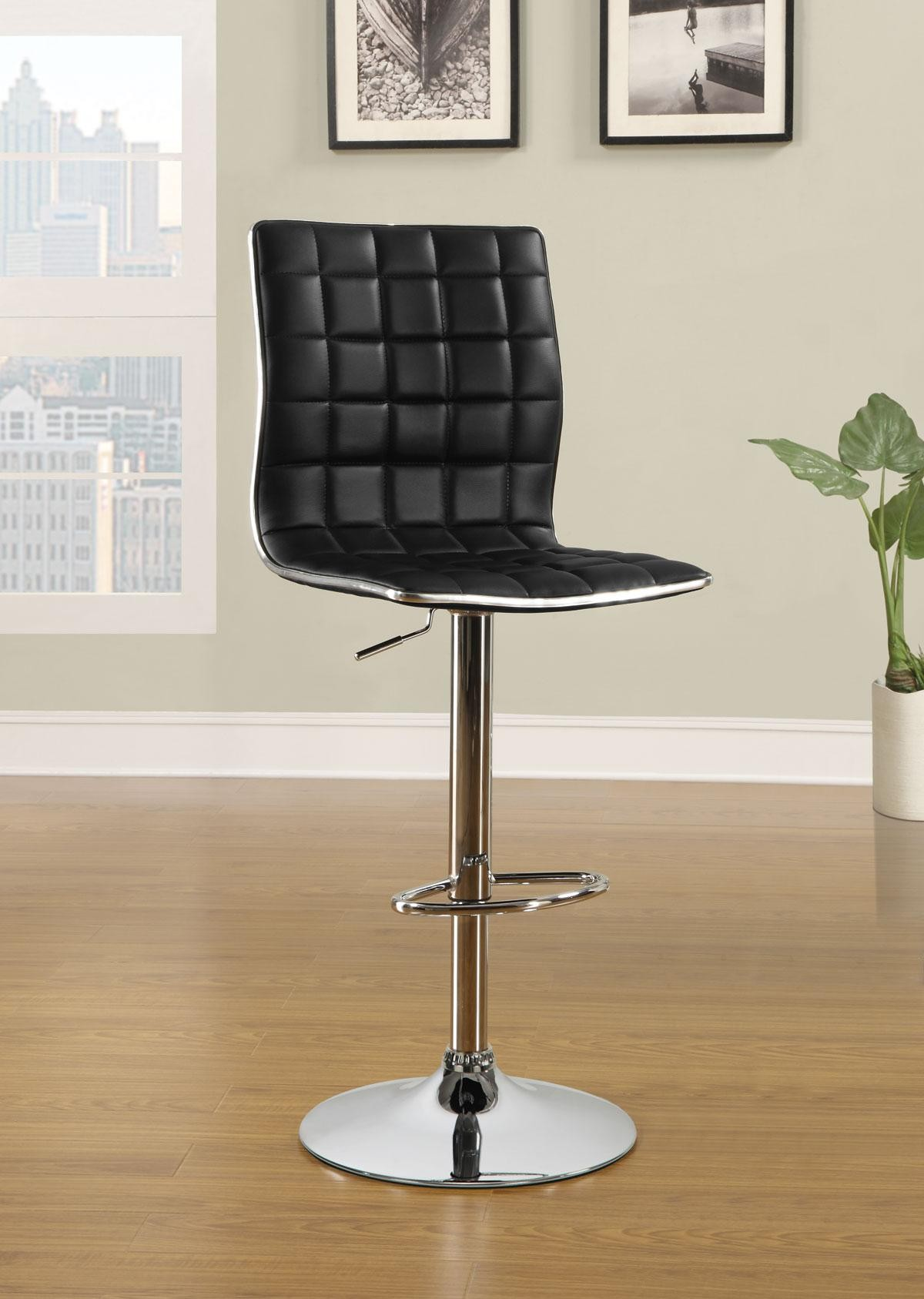 Waffle black bar stool set of 2 from coaster 122087 for Black bar stools