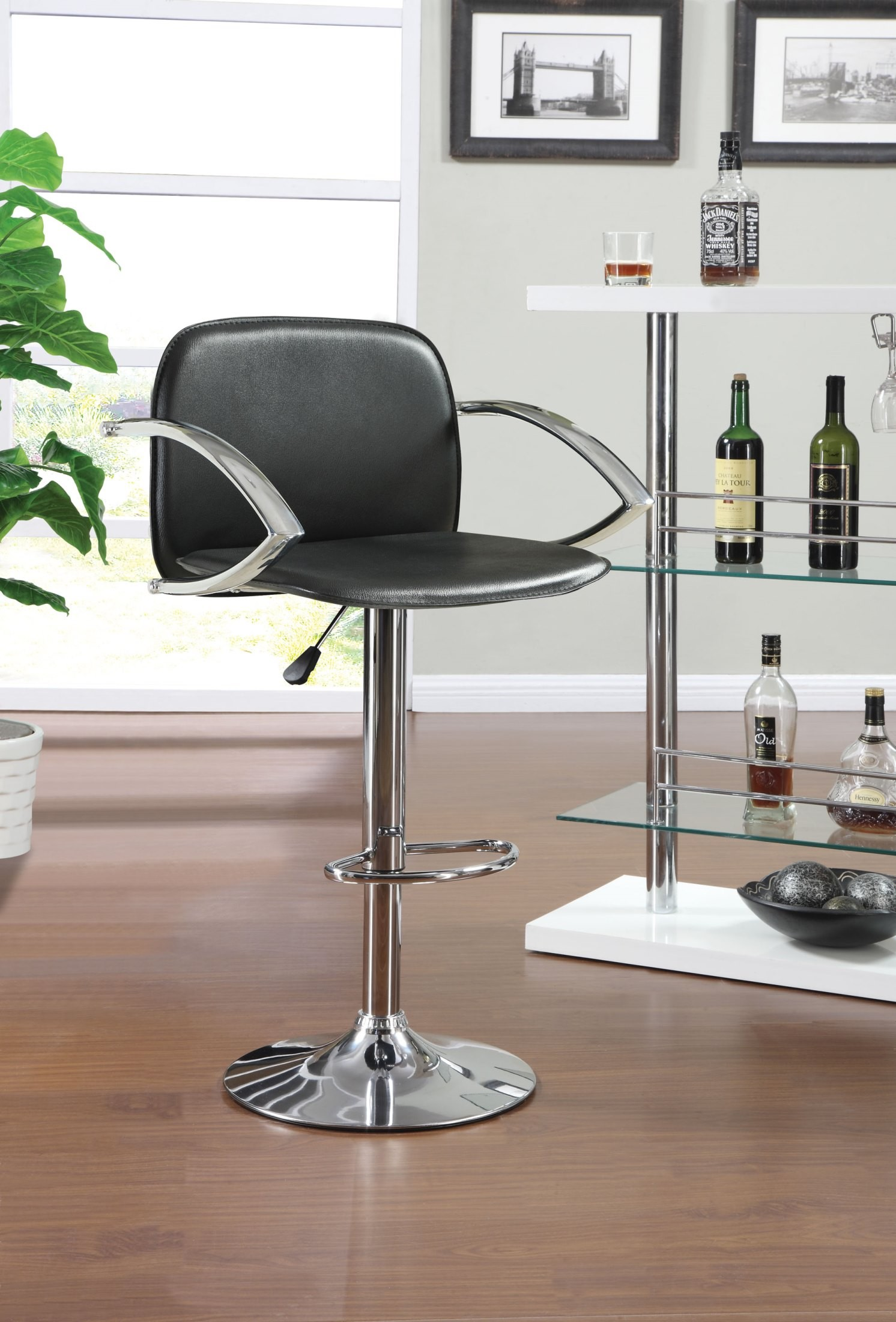 Modern Black Adjustable Bar Stool From Coaster 122093