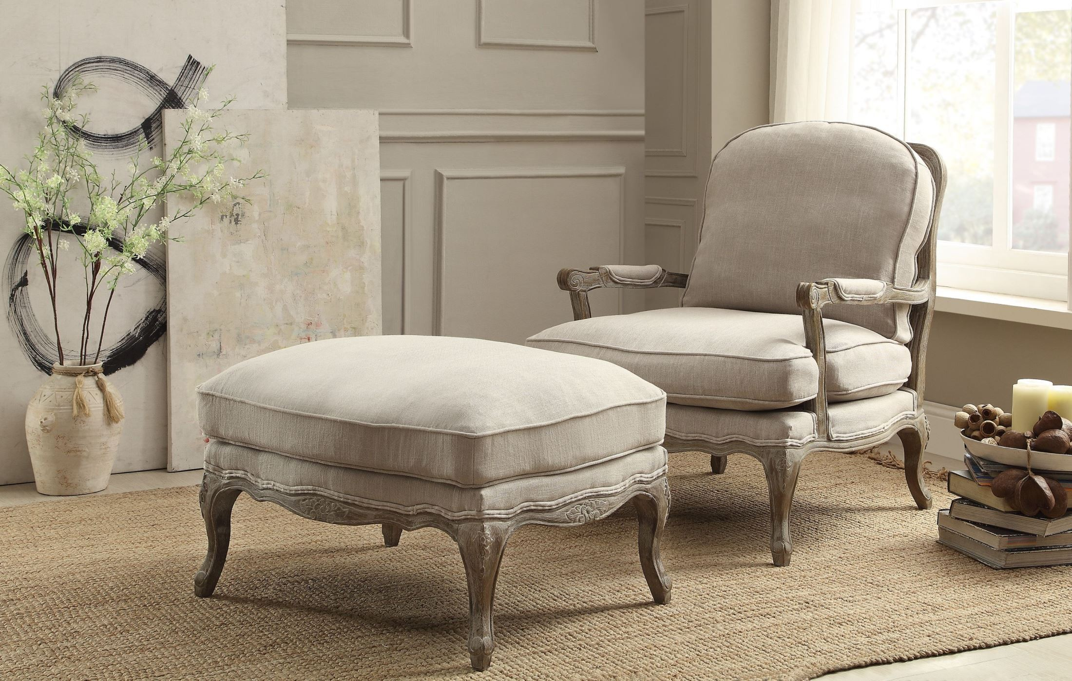 Parlier Grey Weathered Show Wood Ottoman From Homelegance
