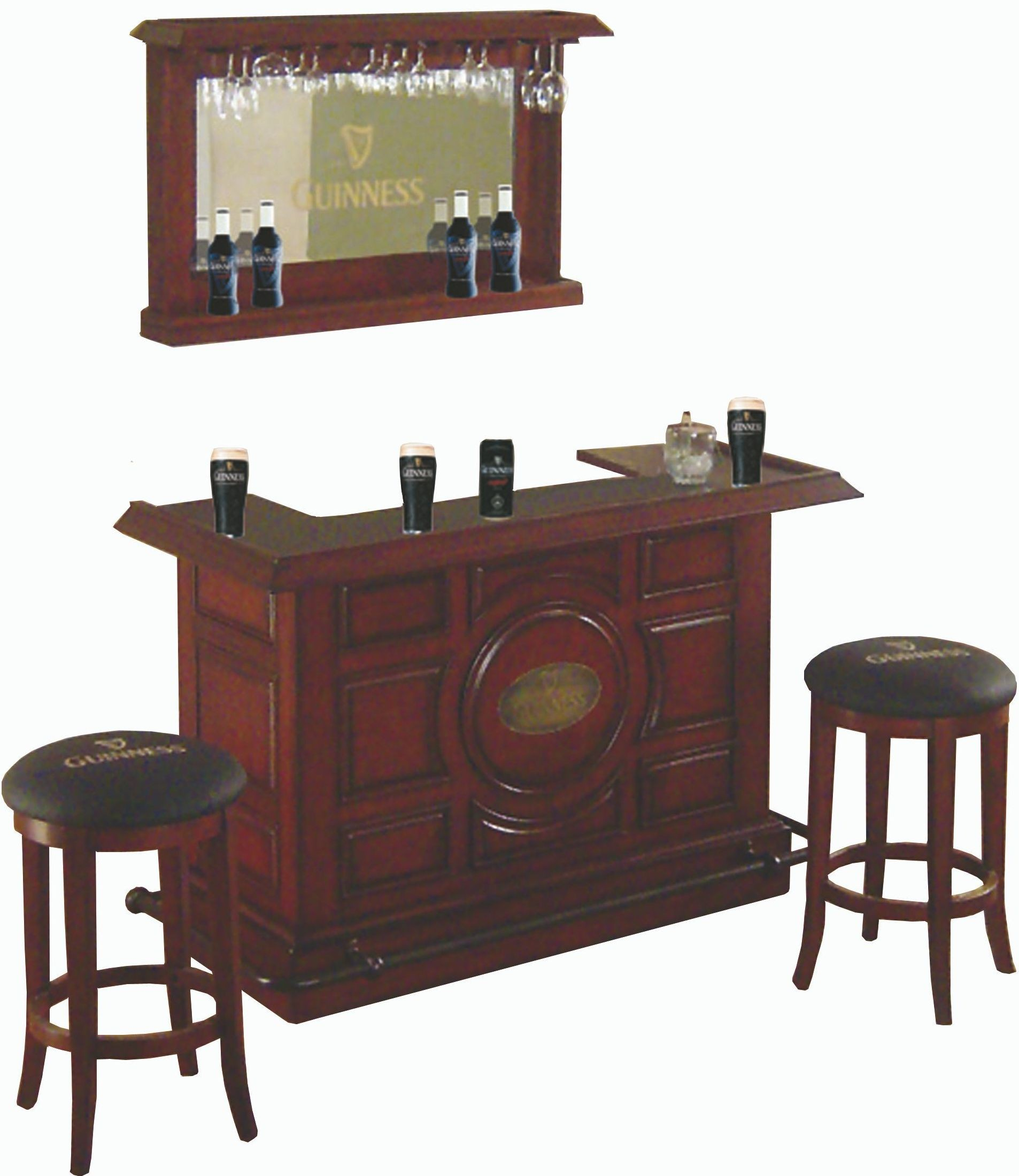 Guinness Distressed Walnut Raised Panel Bar Set From Eci