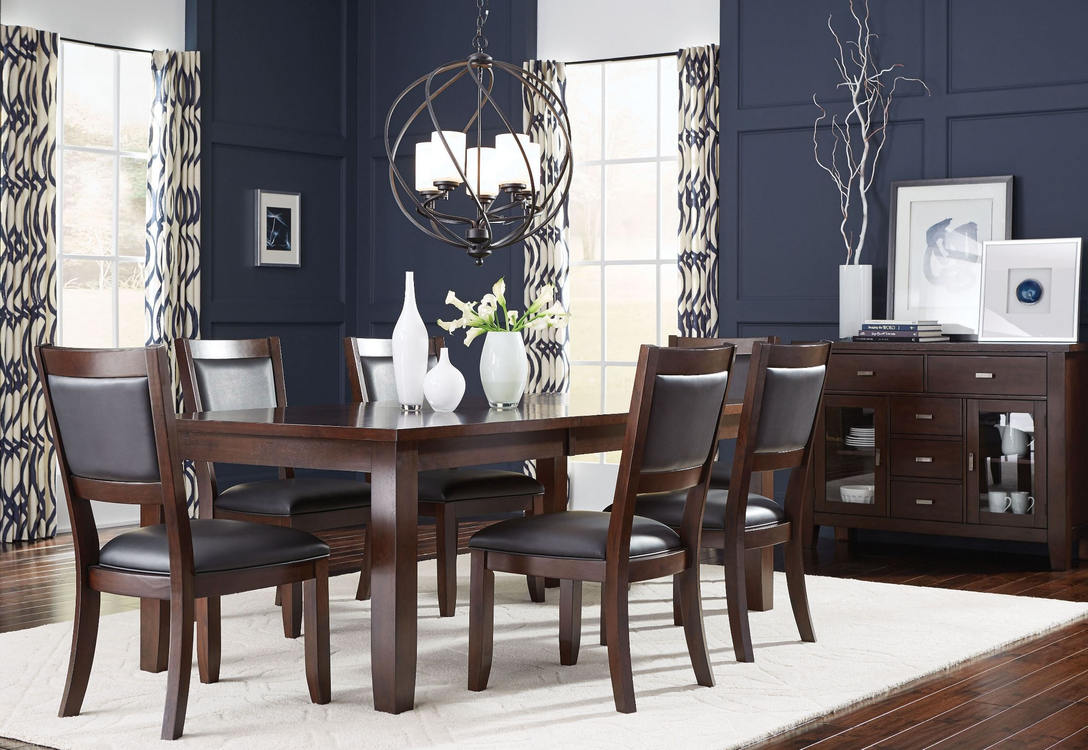 Barclay burnished dark brown extendable leg dining room for Dark brown dining room