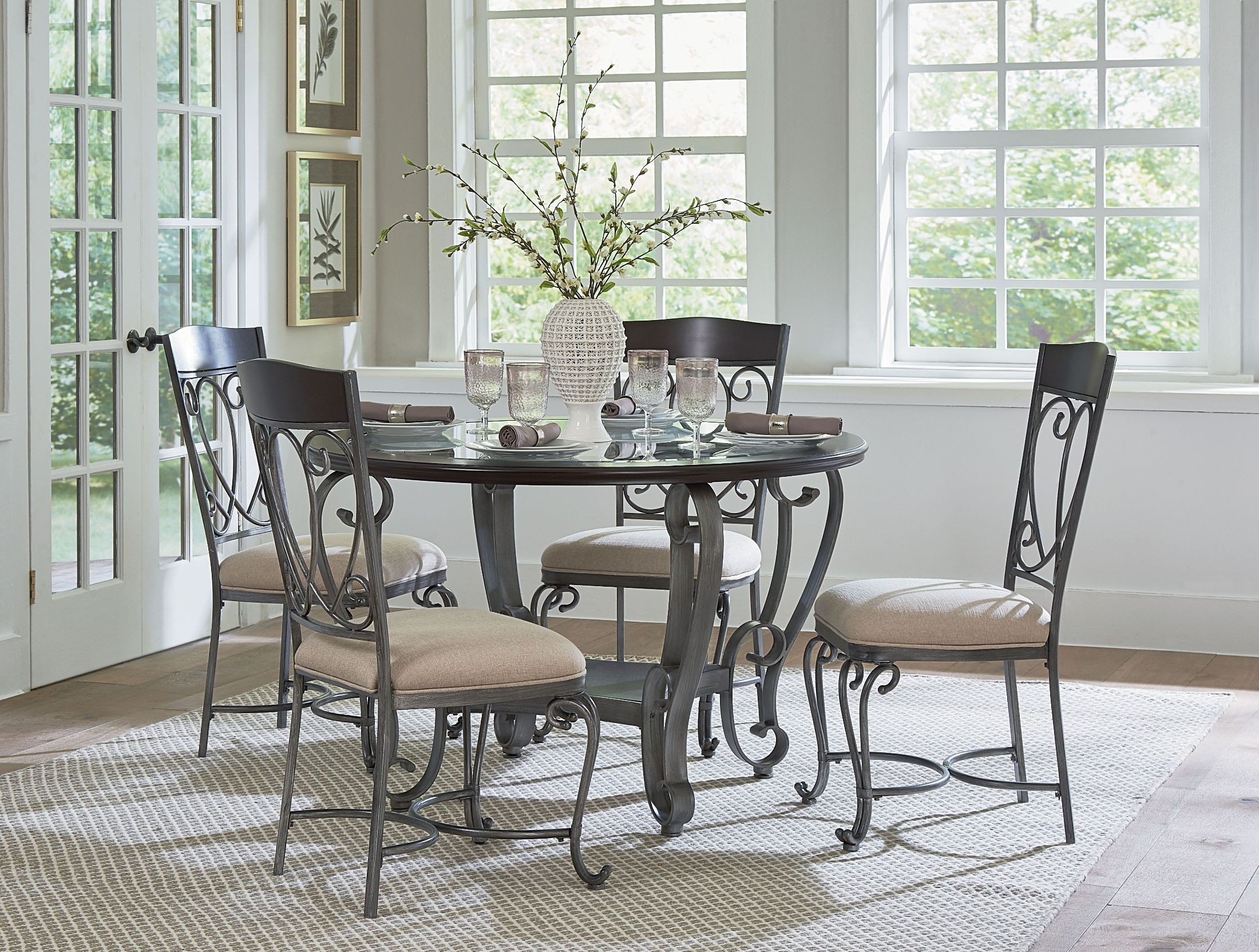 Cyprus chrome round dining room set from standard