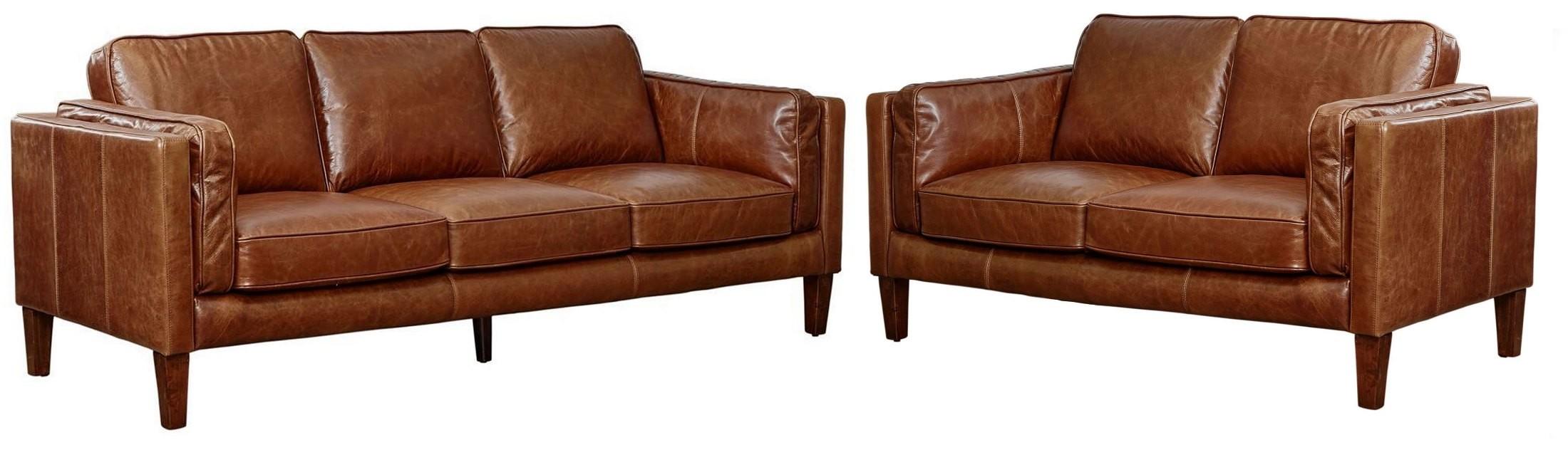 Berkley Cocoa Brompton Vintage Leather Sofa from Lazzaro