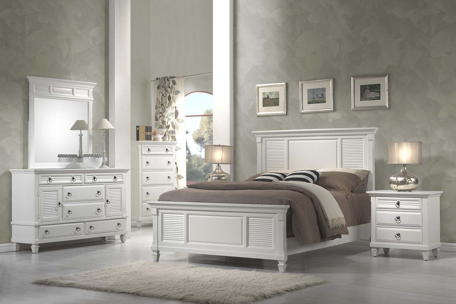 Winchester white shutter panel bedroom set from alpine for 3 6 bed