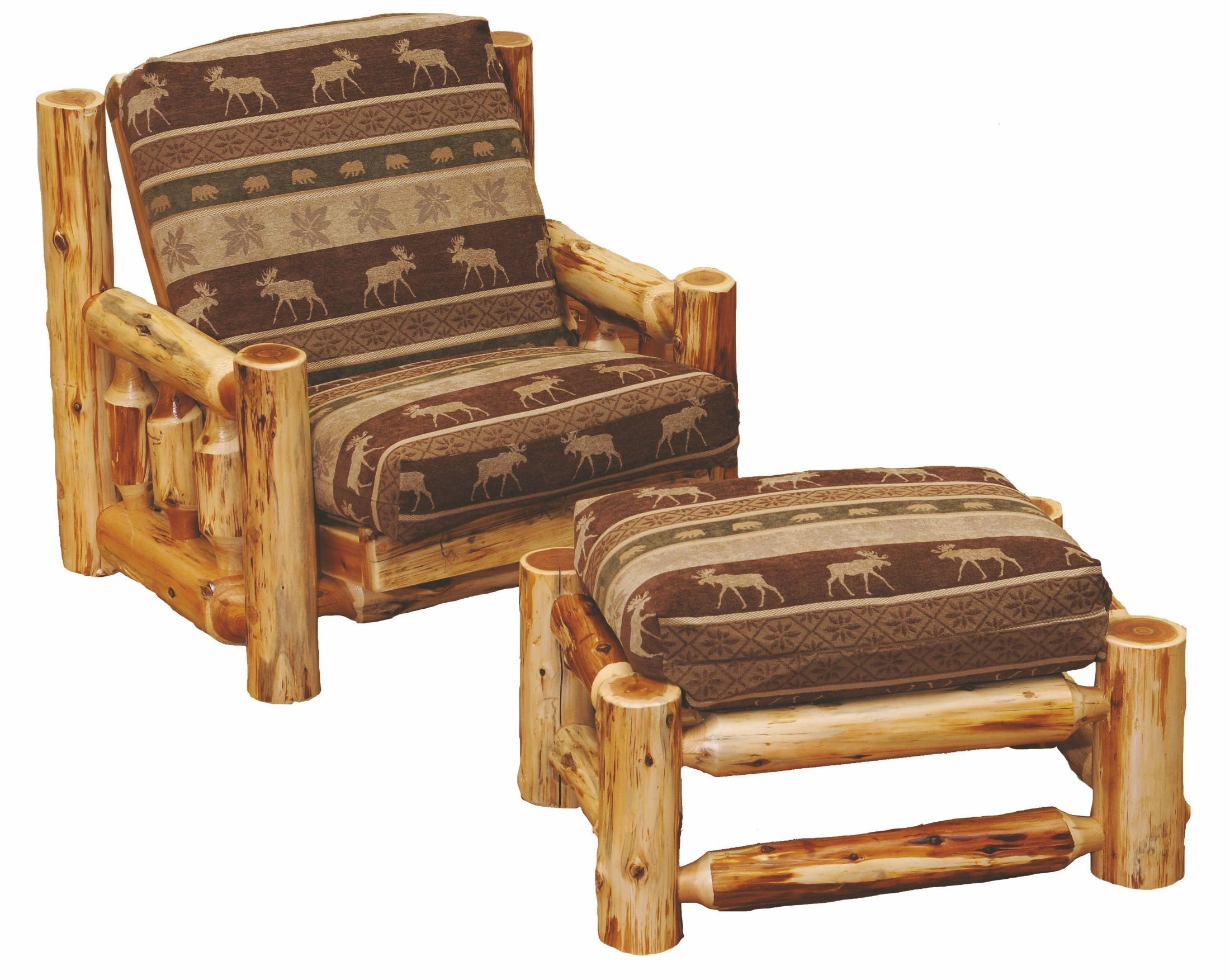 Cedar futon chair with ottoman from fireside lodge 13160 for Chair with ottoman
