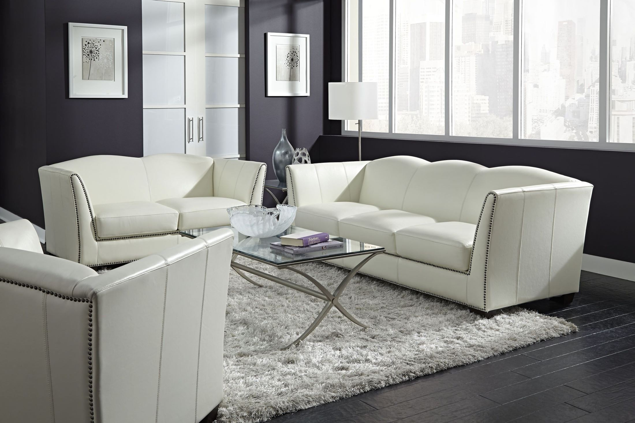 Living Room Furniture: Manlyn White Leather Living Room Set From Lazzaro (WH-1327