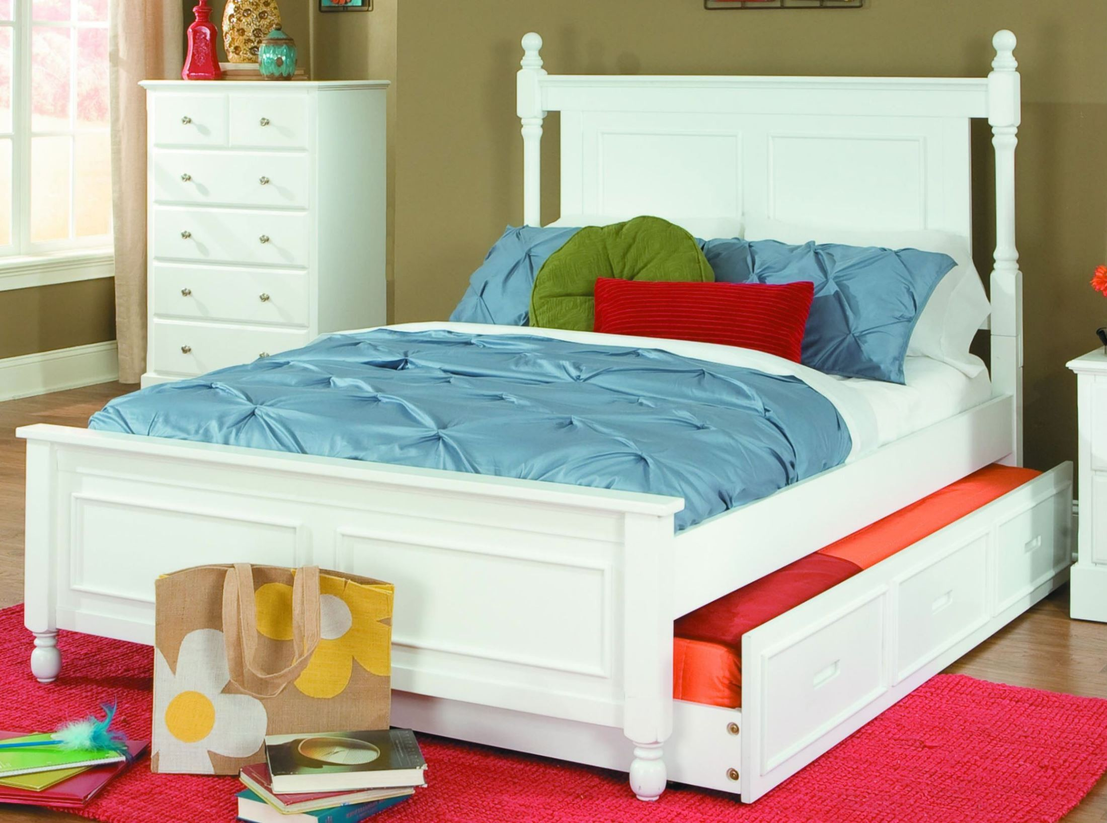 Morelle white full bed with twin trundle from homelegance White twin trundle bedroom set