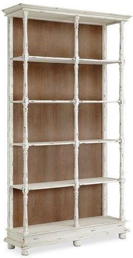 Whitney Distressed White 5 Shelf Bookcase, 13589, Stein World