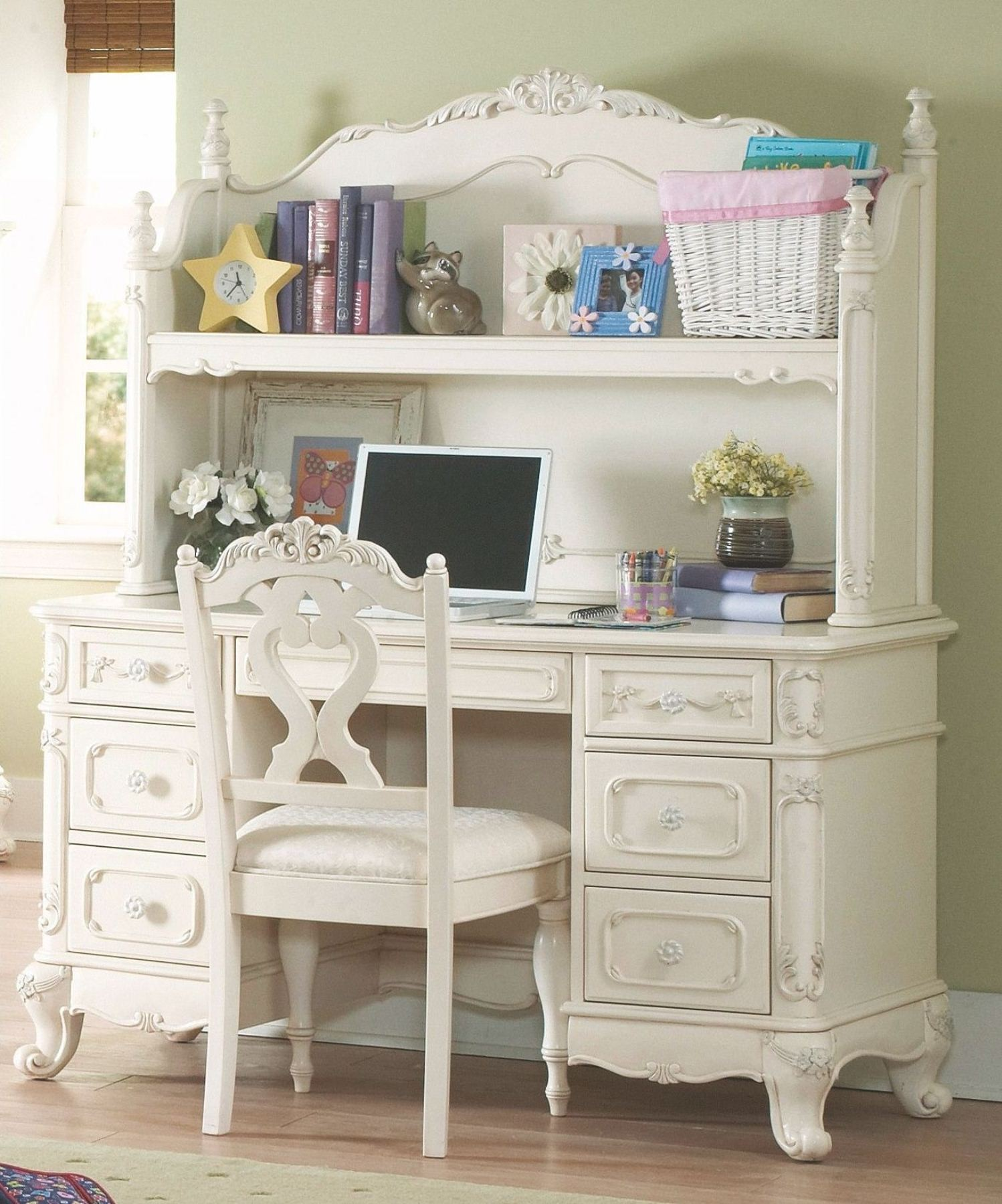 Delightful Cinderella Youth Writing Desk W/ Hutch