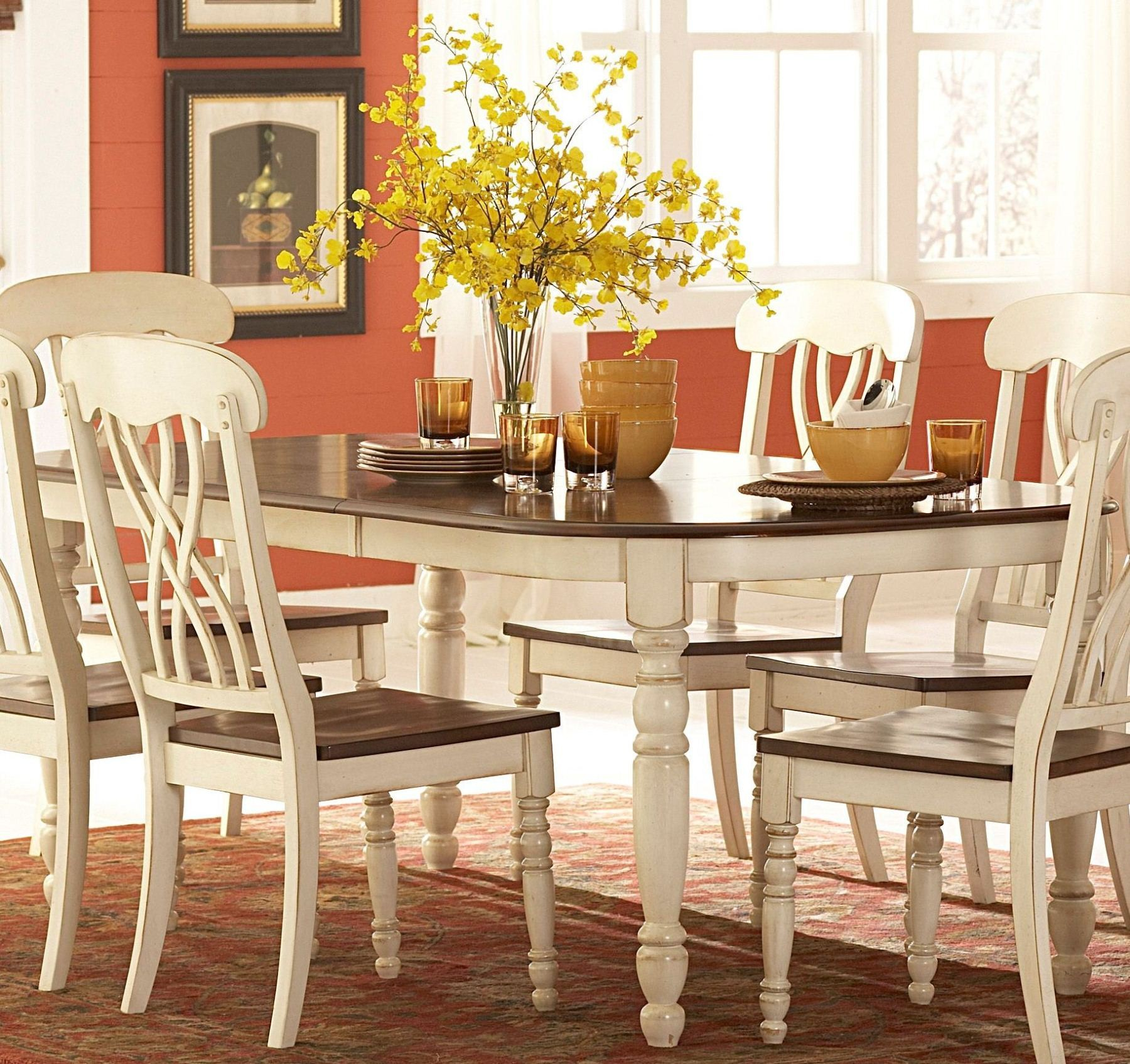 Rectangular Extendable Dining Table: Ohana White Rectangular Extendable Dining Table From