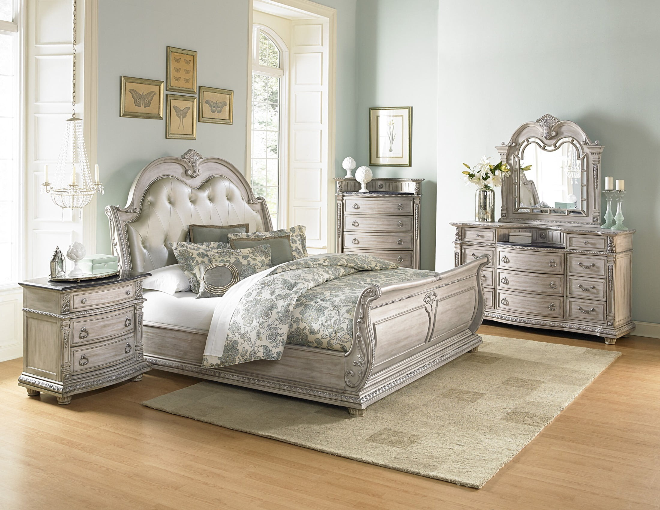 palace ii white wash bonded leather sleigh bedroom set 17846 | 1394n 1 1 1 1