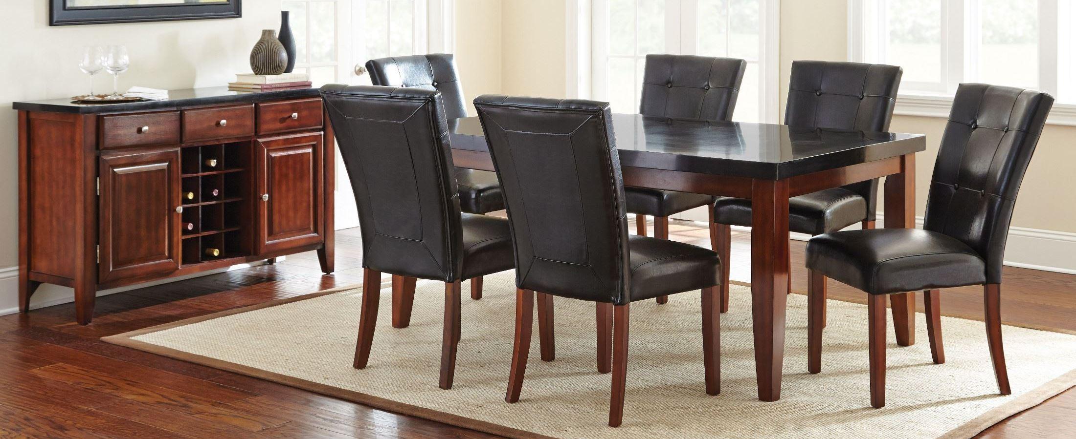 Granite bello medium cherry rectangular dining room set for Medium dining room ideas