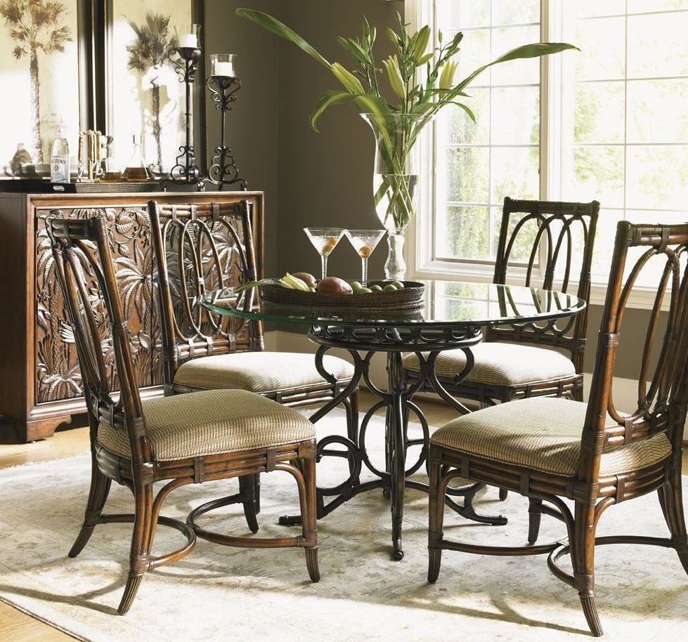 landara capistrano 36 round dining room set from tommy bahama coleman furniture. Black Bedroom Furniture Sets. Home Design Ideas