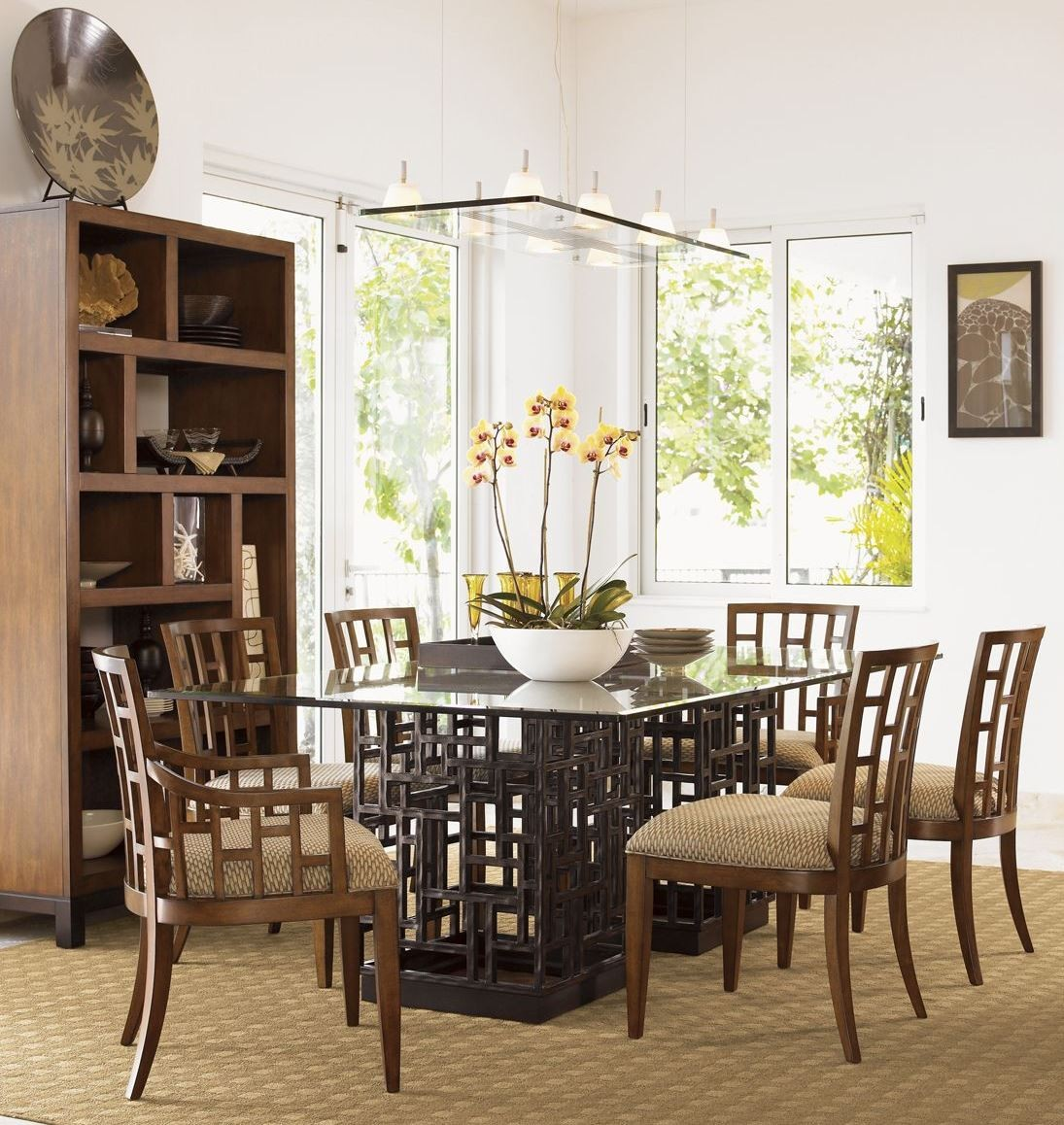 Glass Dining Room: Ocean Club South Seas Rectangular Glass Dining Room Set