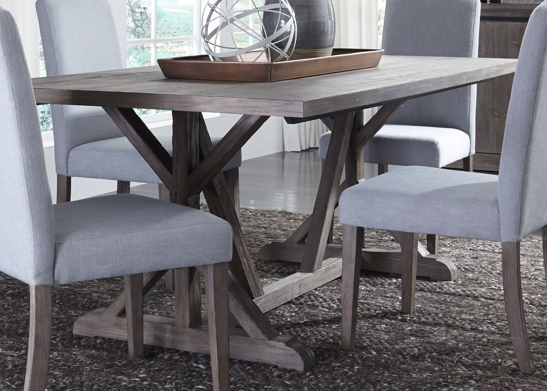 trestle dining table grey carolina lakes gray trestle dining table from liberty 6376