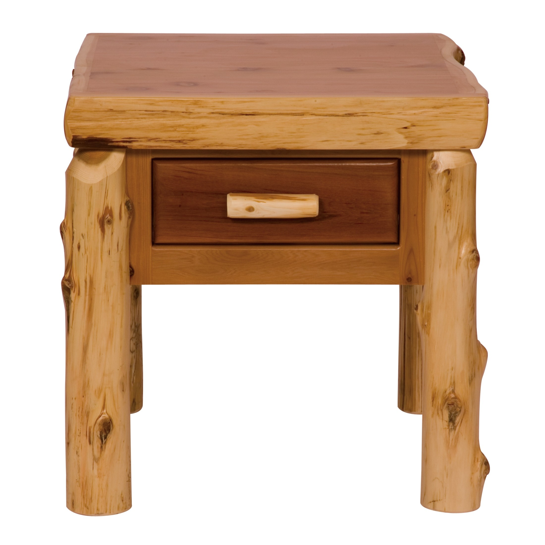 Cedar one drawer end table from fireside lodge 14021 for 1 drawer table
