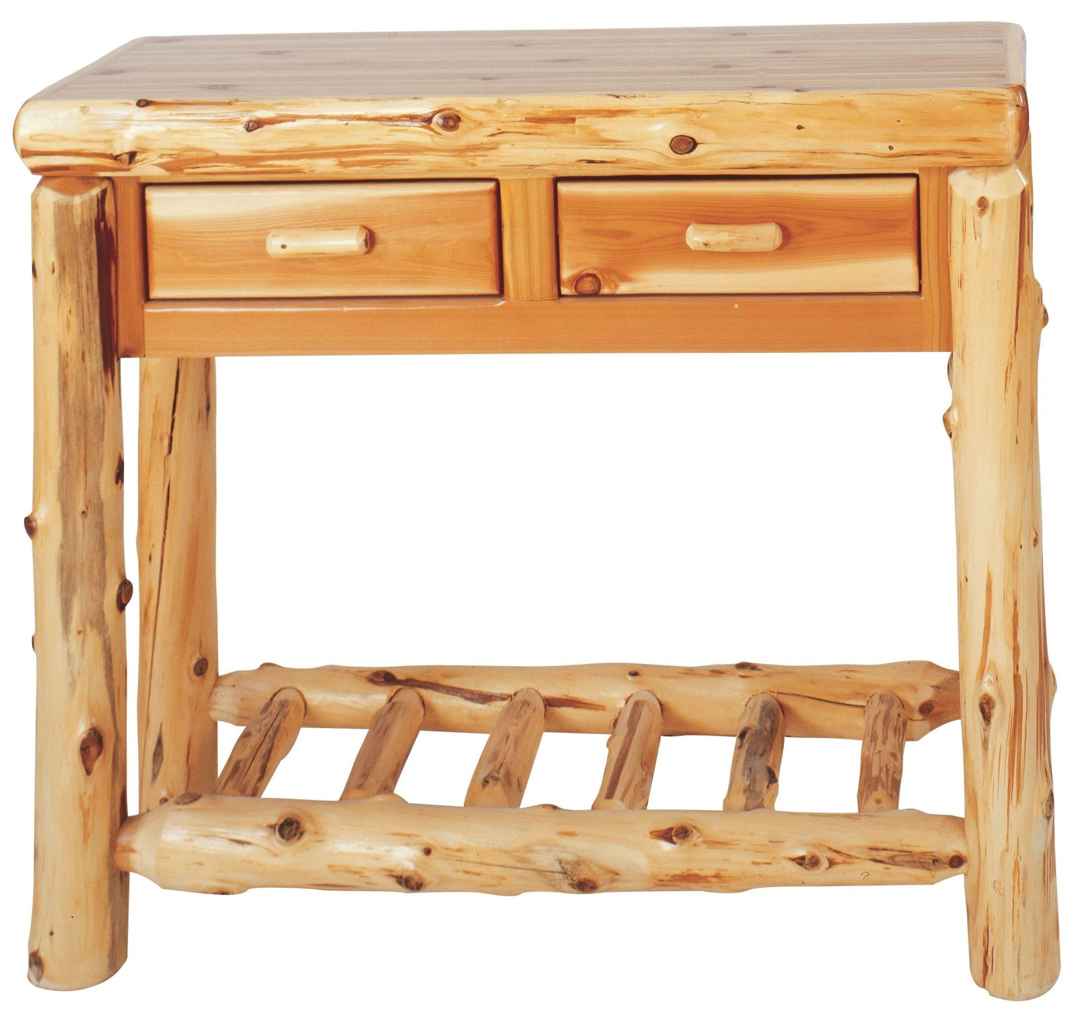 Cedar 2 drawers sofa table from fireside lodge 14140 for 6 sofa table