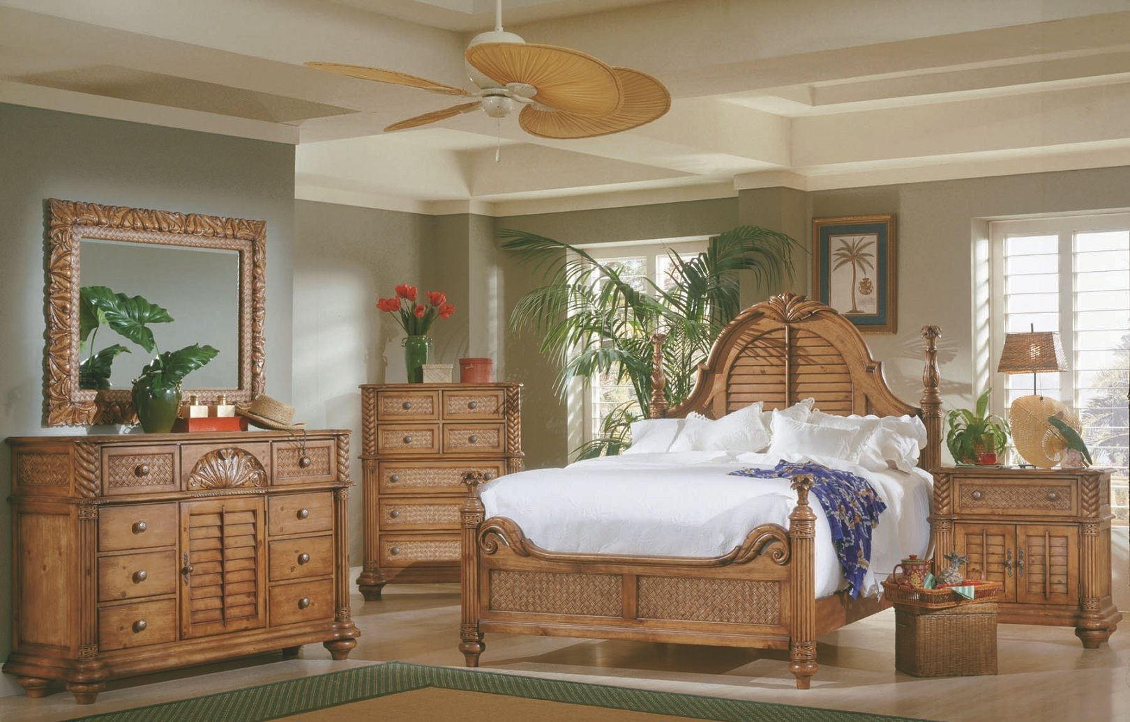 Palm Court Island Pine Poster Bedroom Set, 1416-60-61-77, Progressive