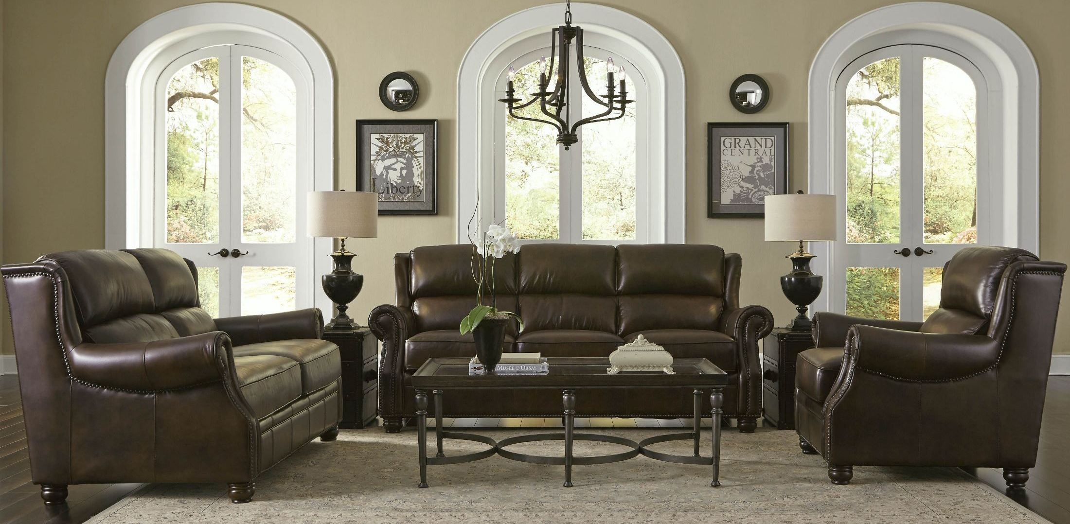 Appalachian rustic savauge leather living room set from - Rustic living room furniture sets ...