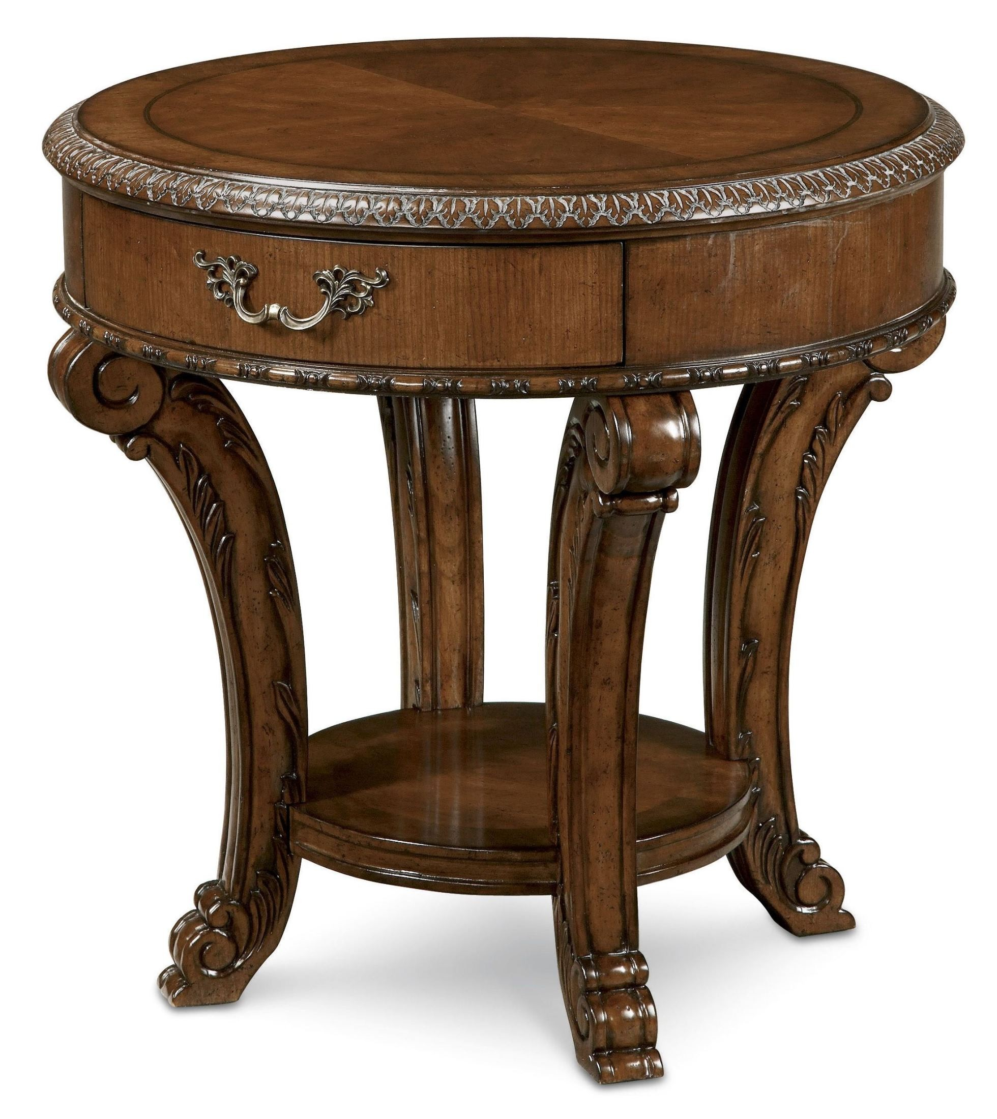 Old world round end table from art 143303 2606 coleman for Round end tables