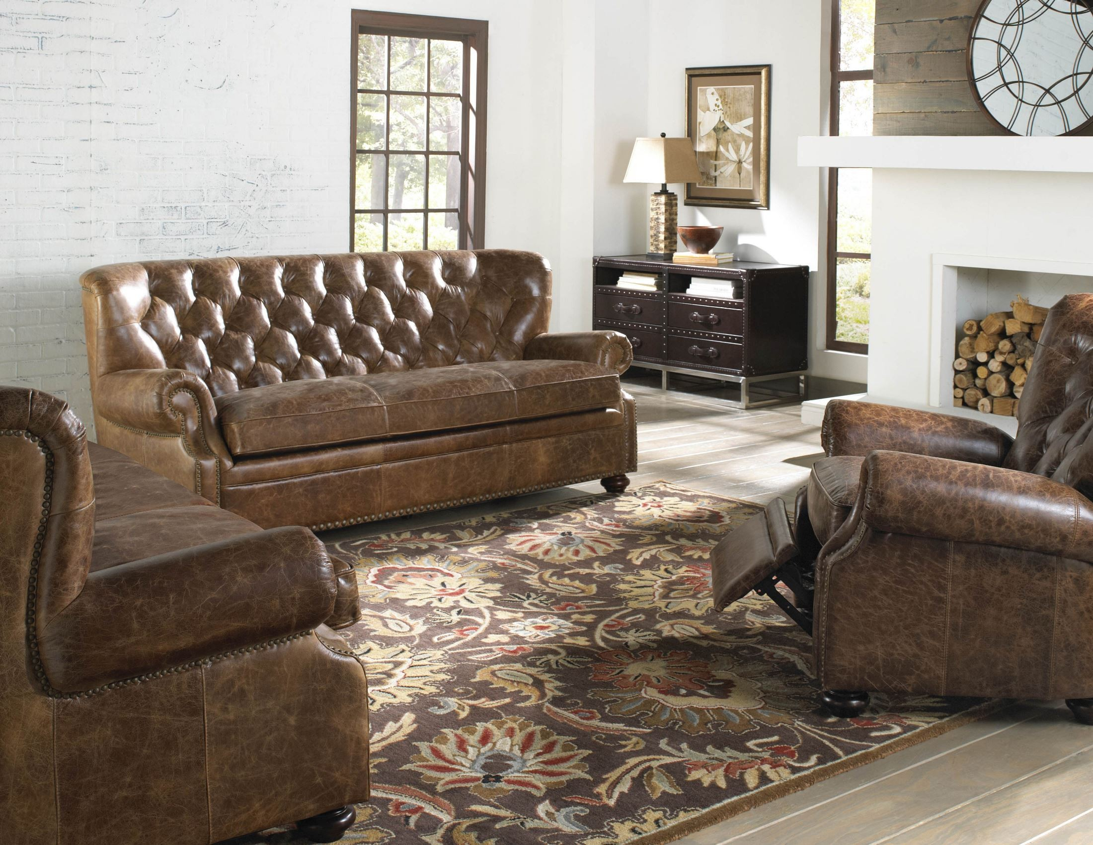 Louis Coco Brompton Leather Living Room Set From Lazzaro Wh 1435 30 9021 Coleman Furniture