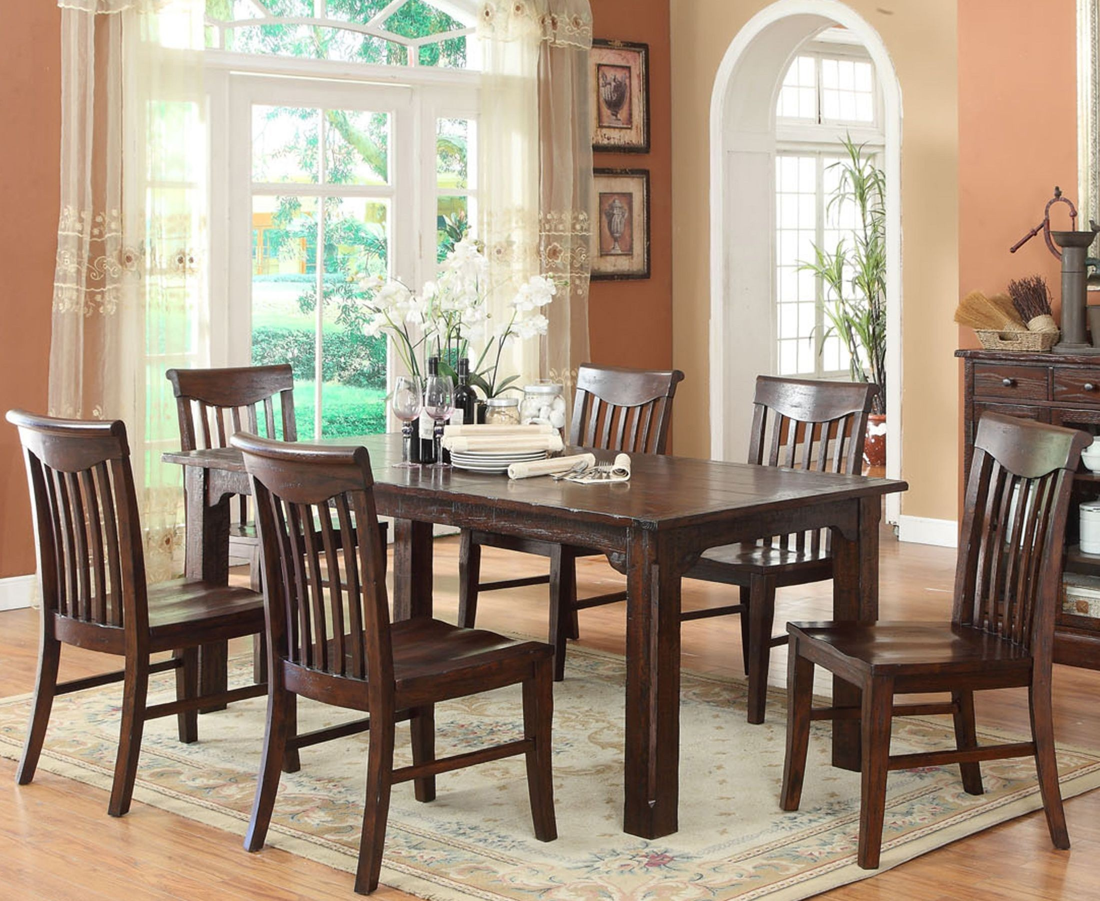 Distressed White Oak Dining Chairs: Gettysburg Distressed Dark Oak Leg Dining Room Set From