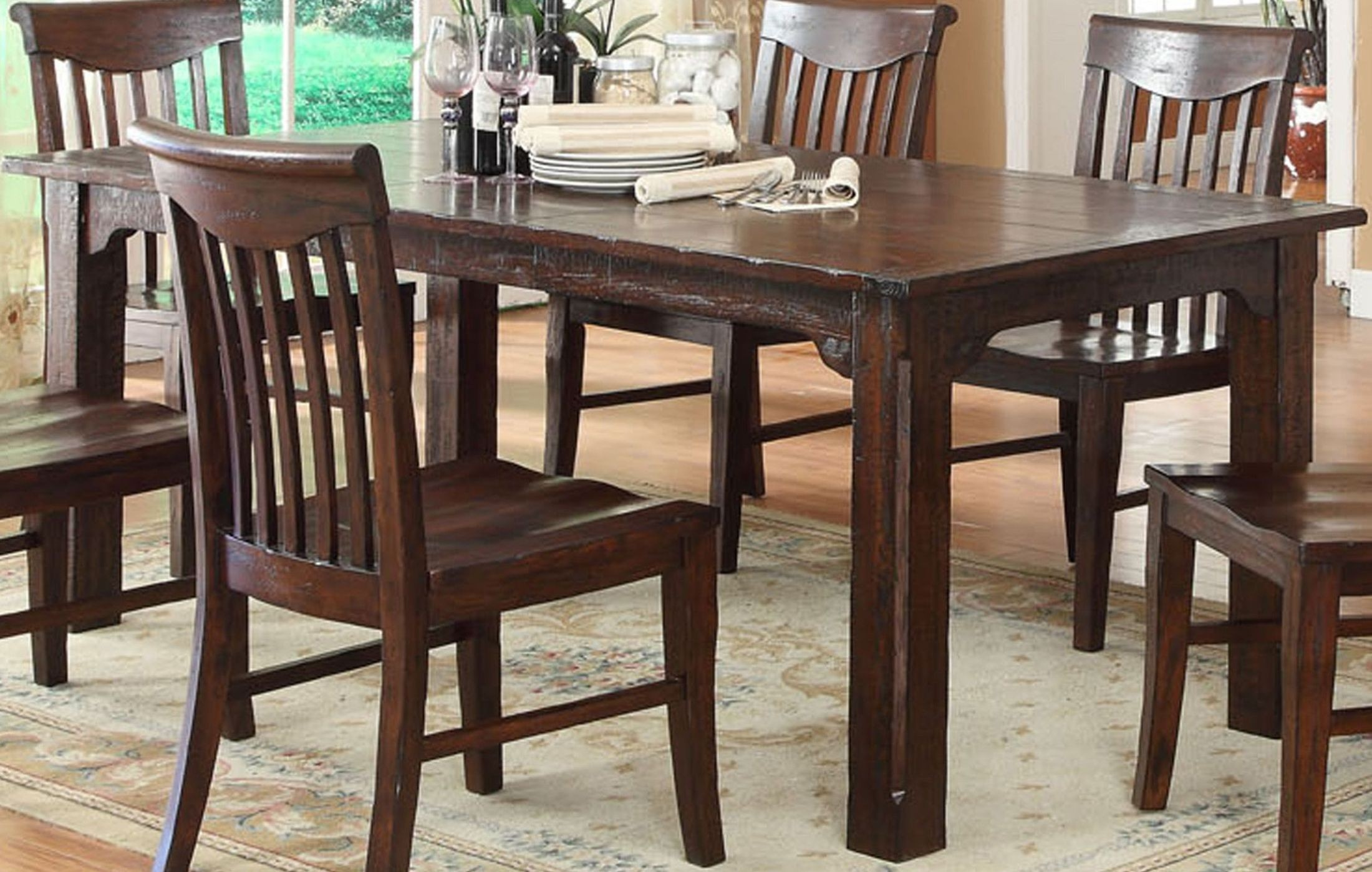 Distressed White Oak Dining Chairs: Gettysburg Distressed Dark Oak Leg Dining Table From ECI
