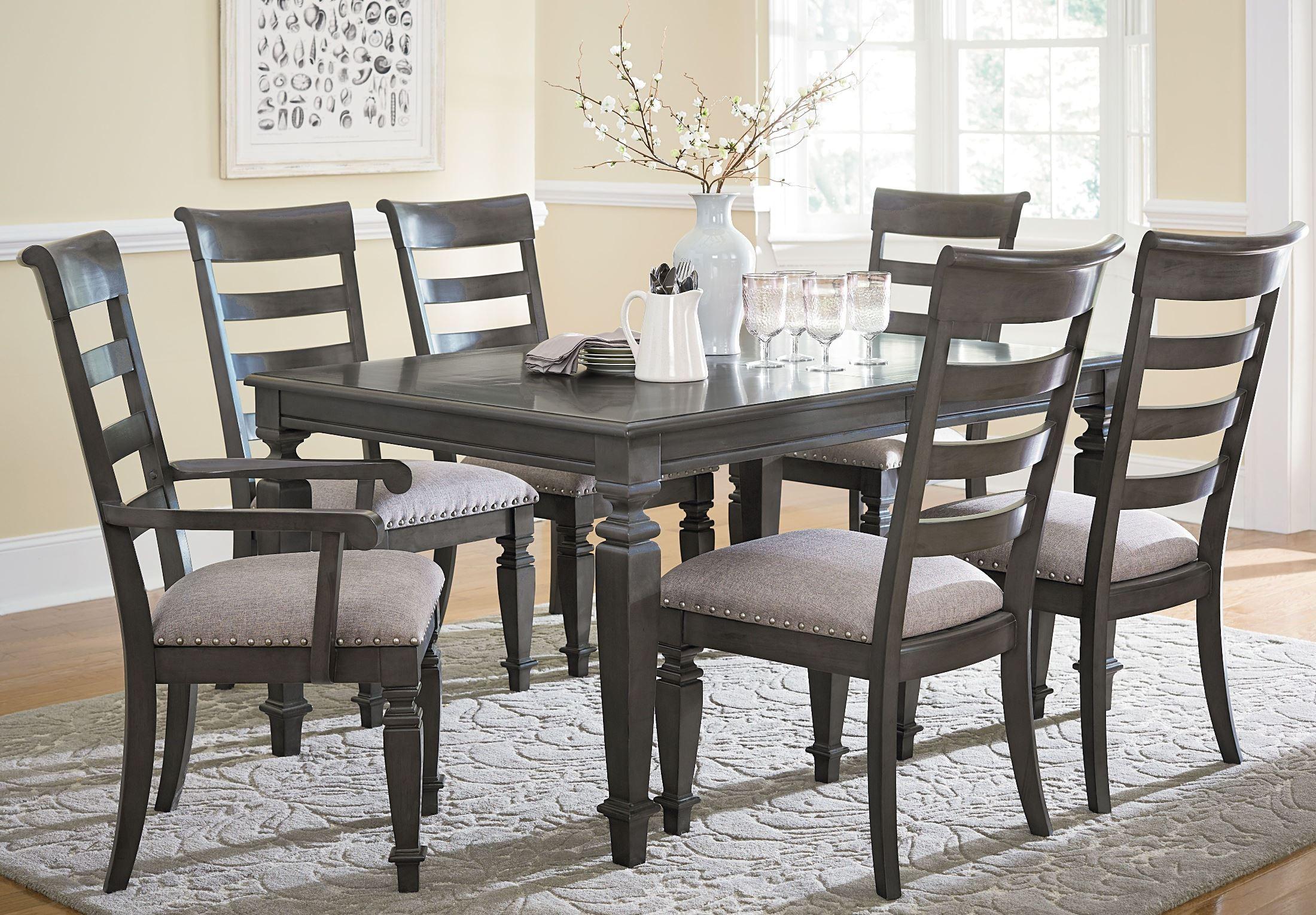 Garrison burnished grey extendable rectangular leg dining for Grey front room furniture