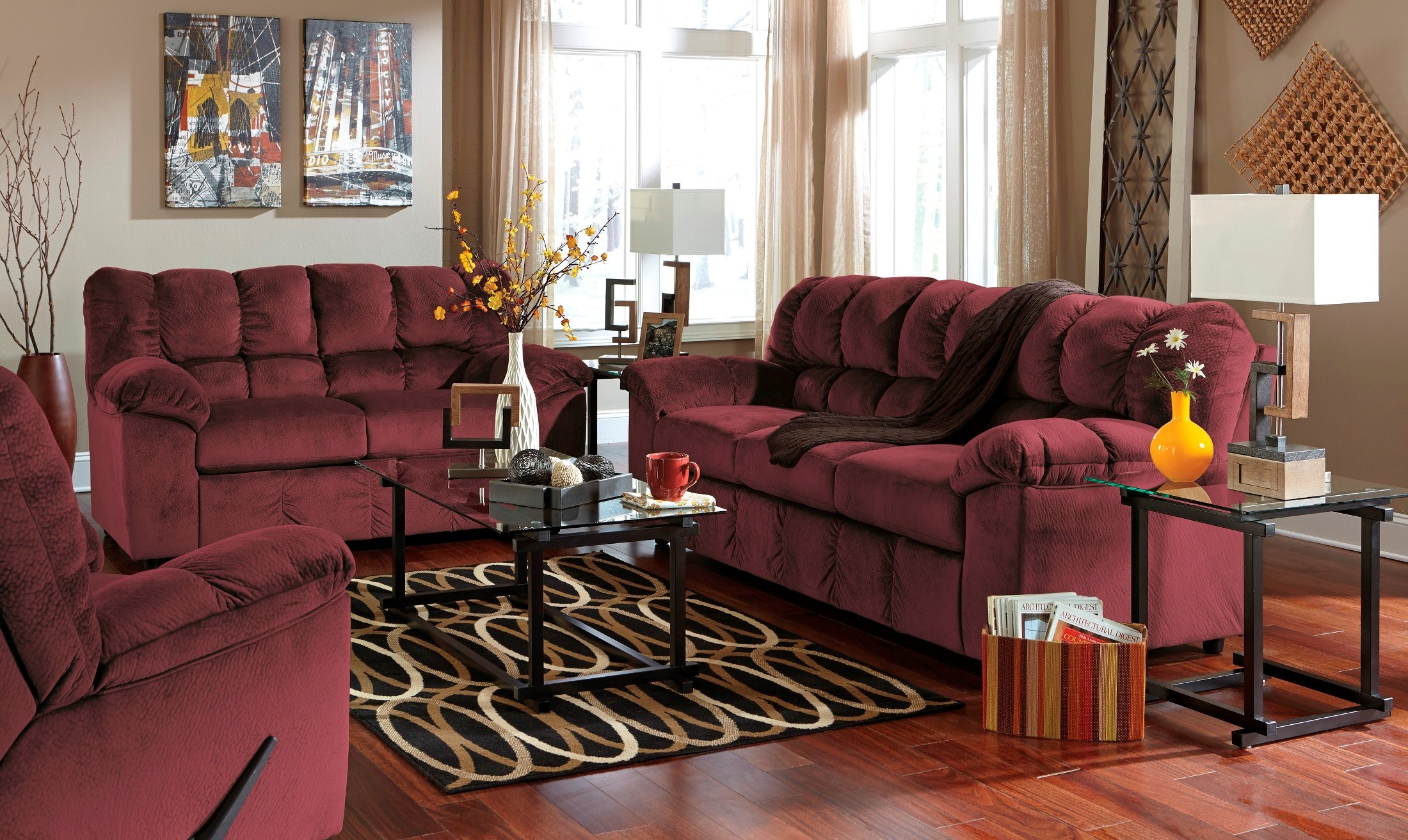 rustic julson burgundy living room set | Julson Burgundy Living Room Set from Ashley (26602-38-35 ...