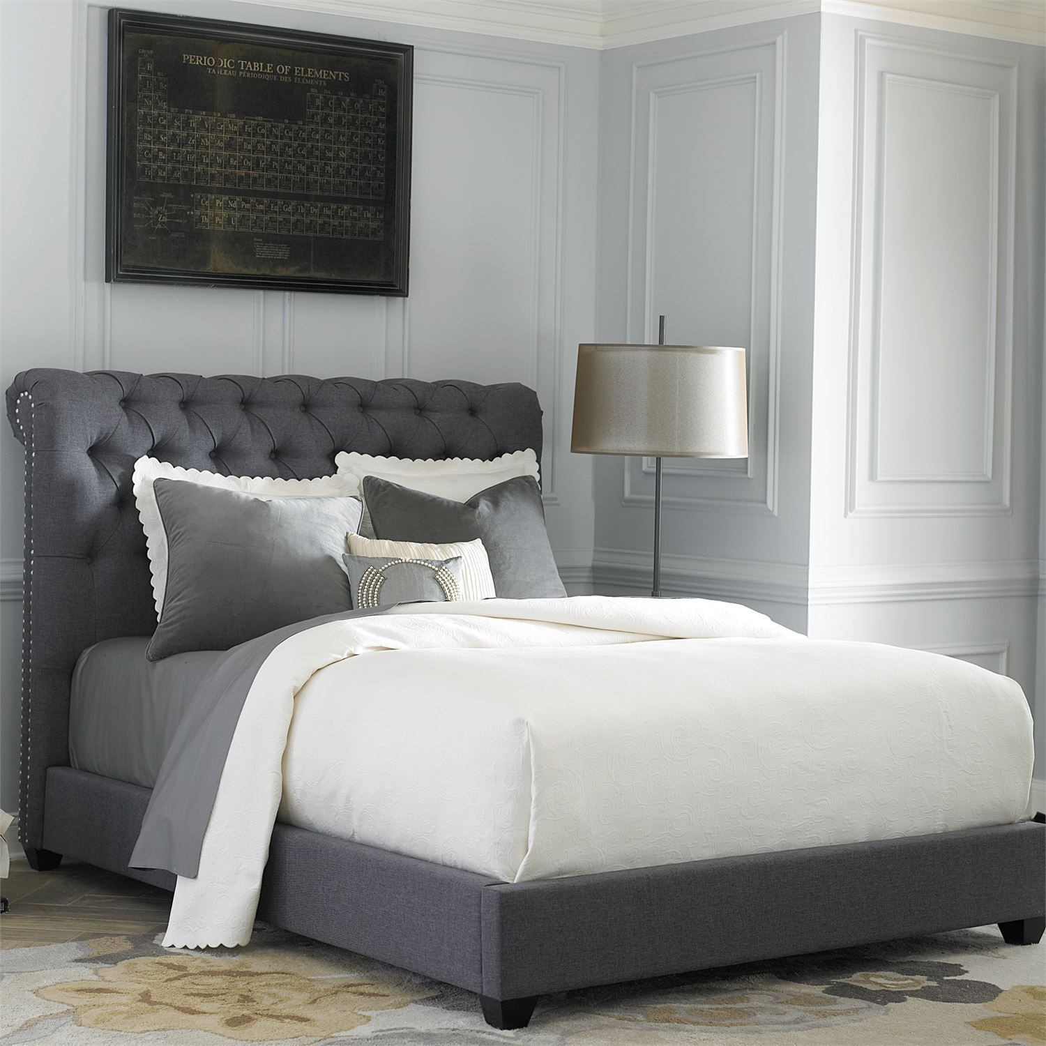 Dark Gray Upholstered King Sleigh Bed From Liberty (250