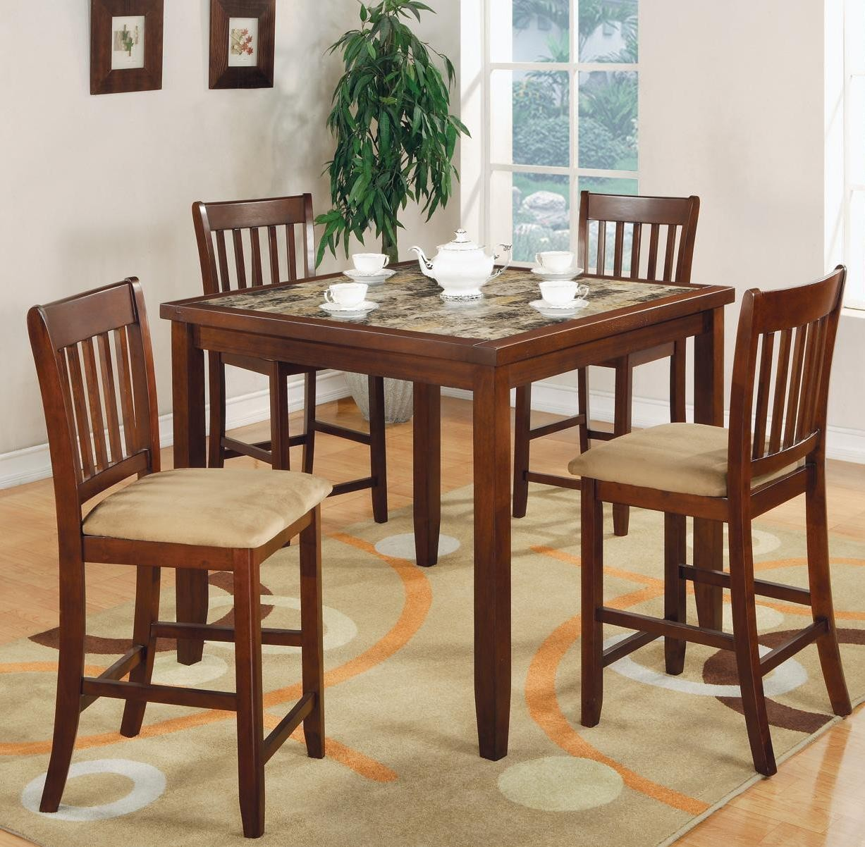 Cherry Dining Room Set: Normandie Cherry 5 Pcs Counter Height Dining Room Set From