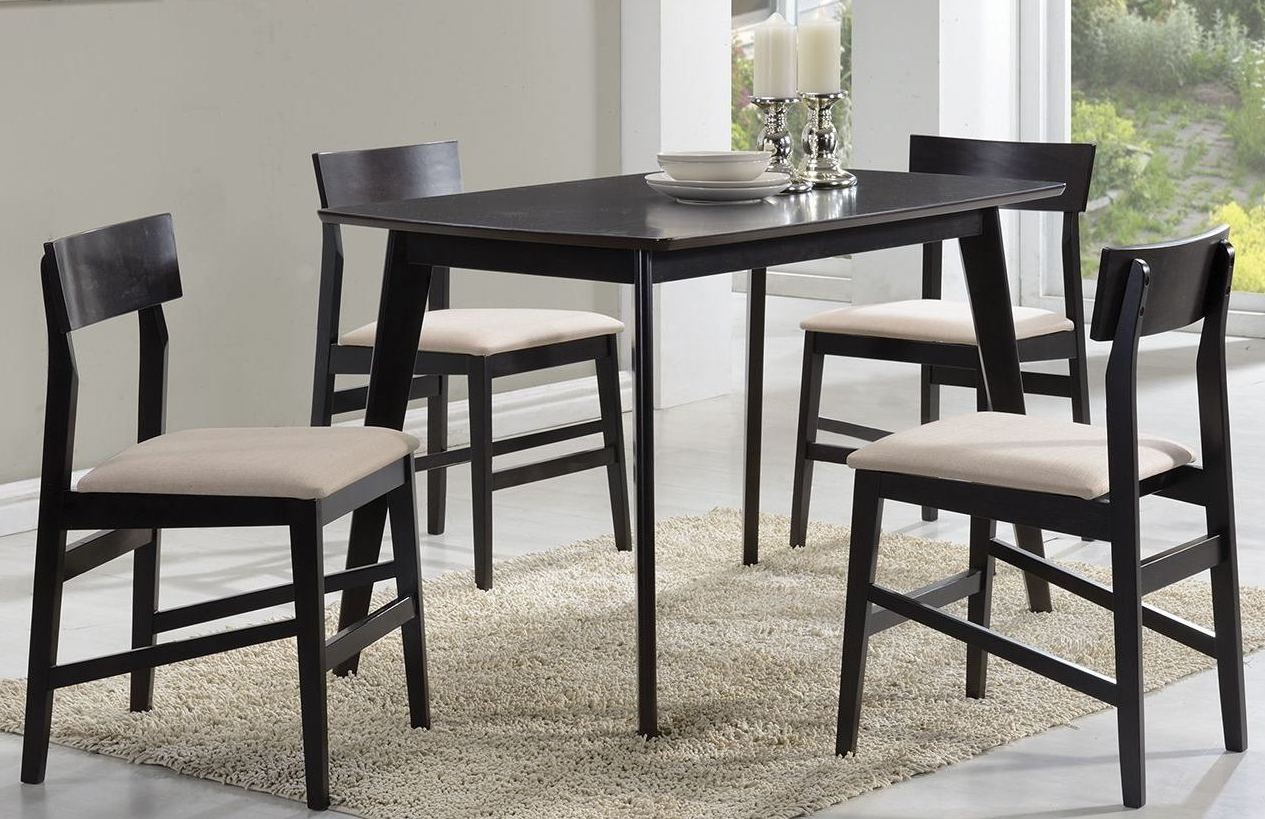 Dinettes brown 5 piece dining room set from coaster for Brown dining room set